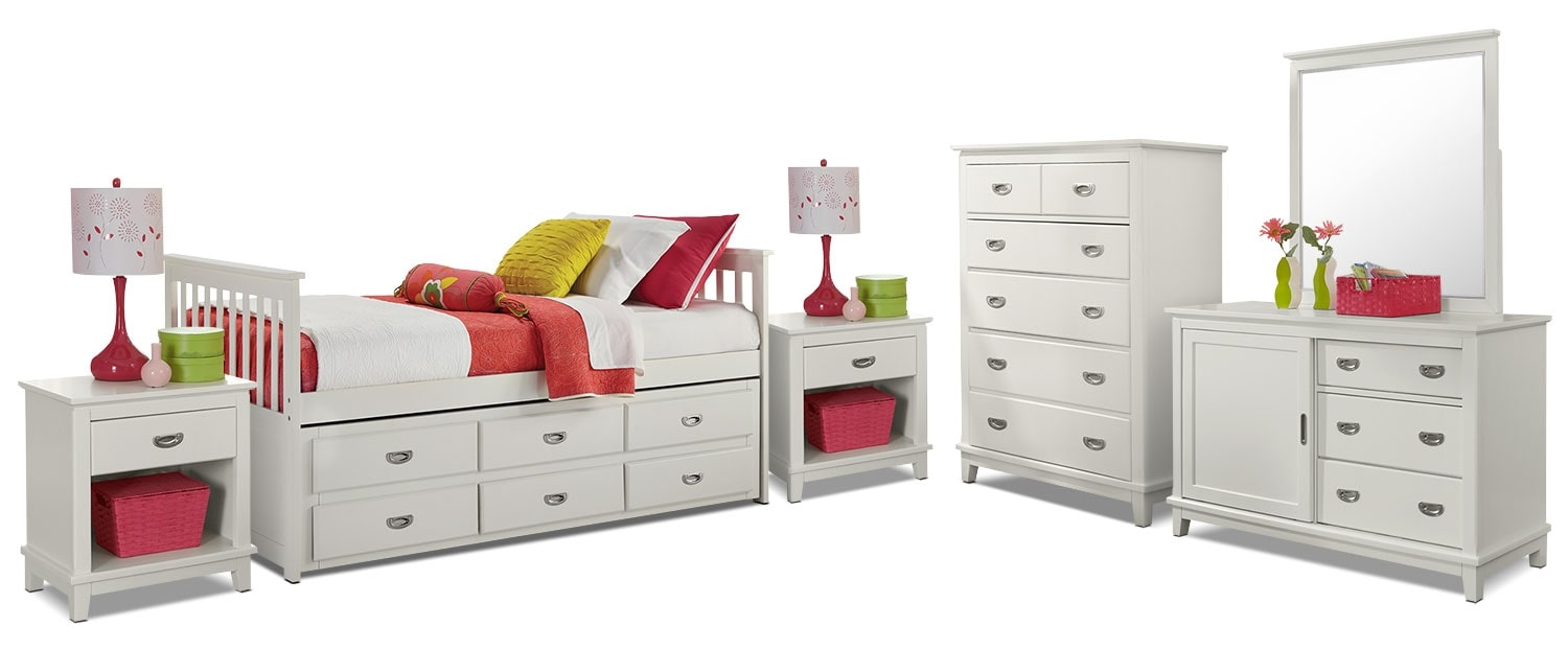 Kids Furniture - Chadwick Twin Captain's 8-Piece Bedroom Package - White