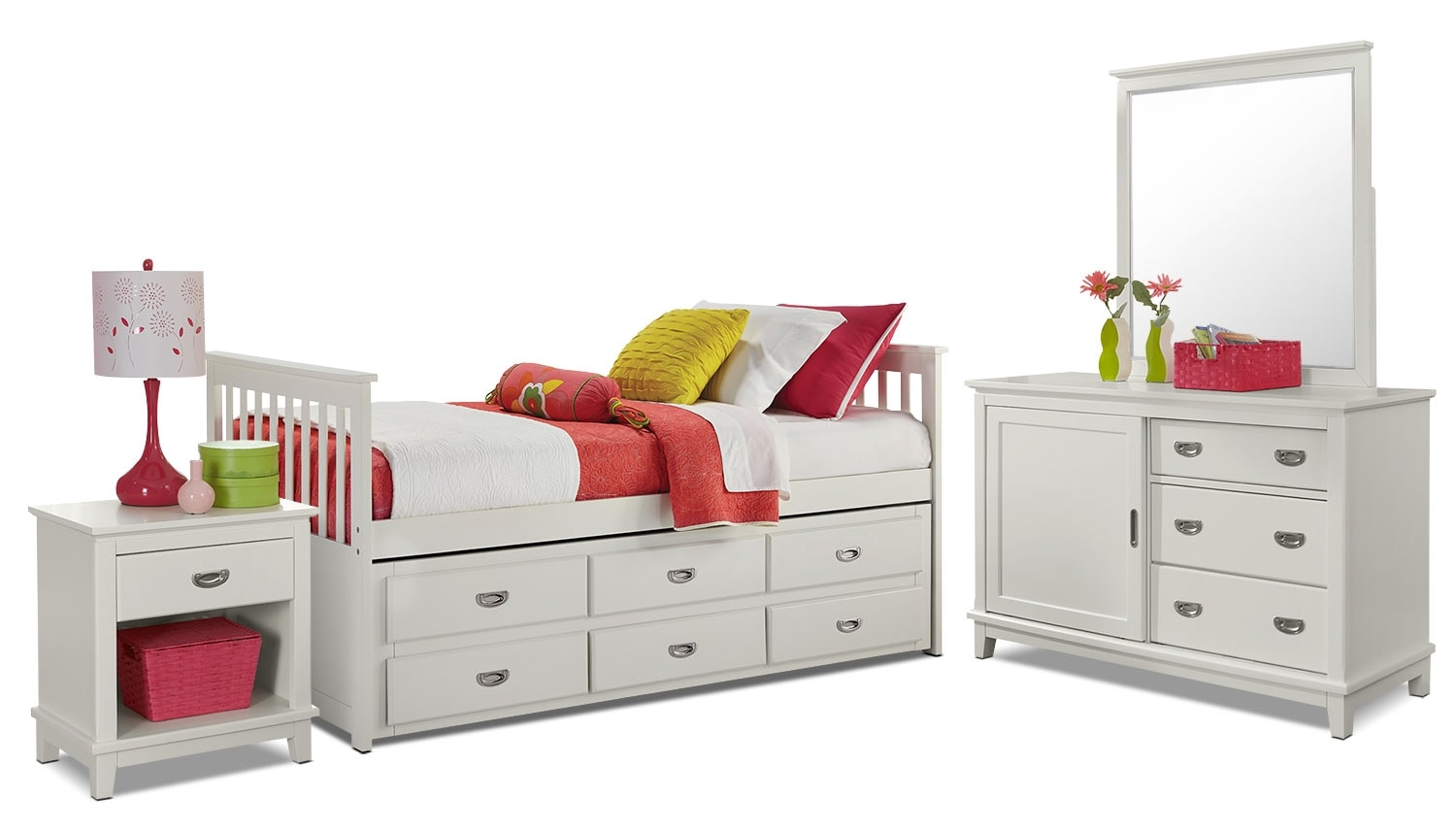 Kids Furniture - Chadwick Twin Captain's 6-Piece Bedroom Package - White