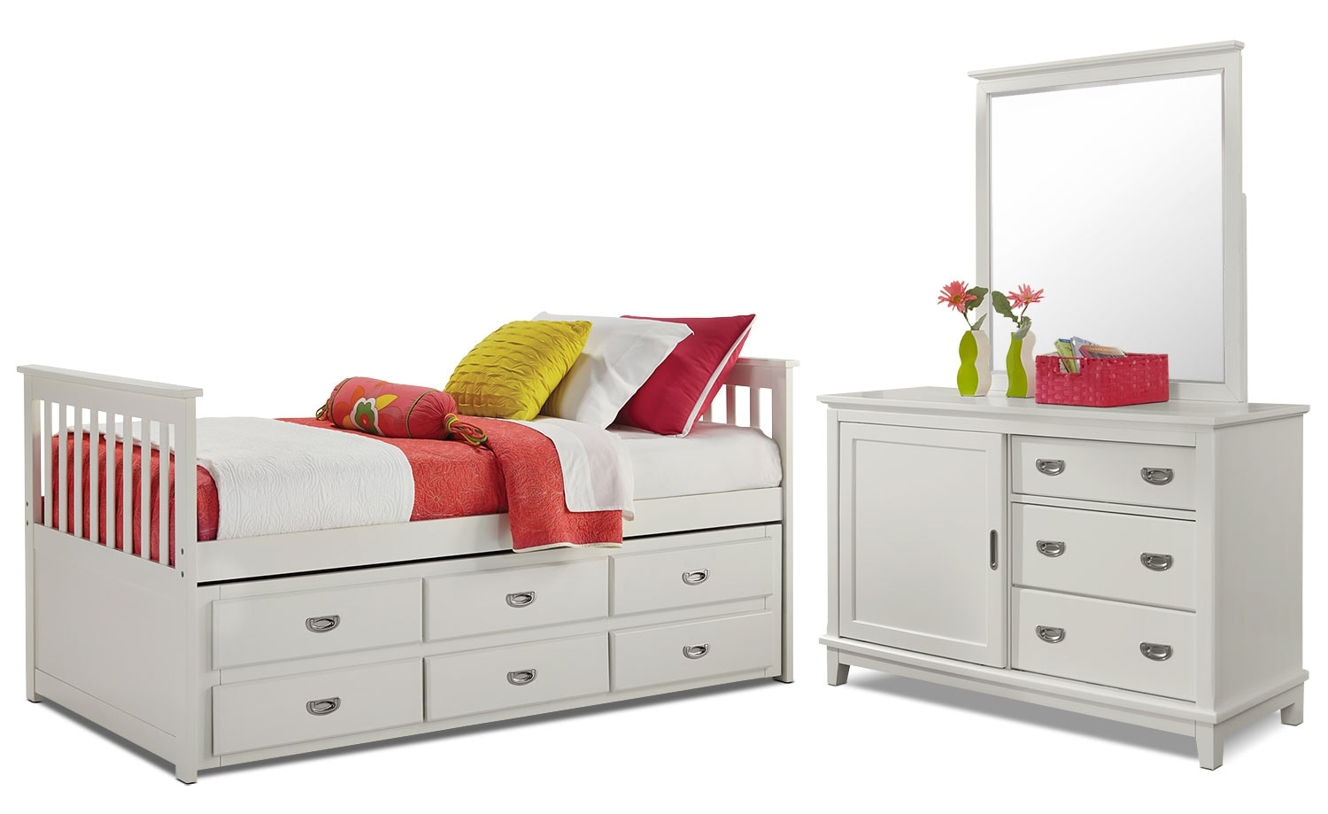 Kids Furniture - Chadwick Twin Captain's 5-Piece Bedroom Package - White