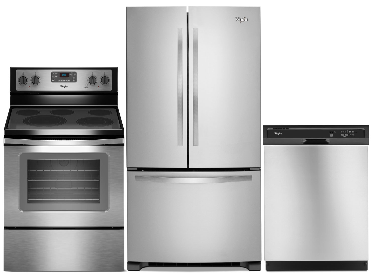 "Whirlpool 22 Cu. Ft. Refrigerator, 5.3 Cu. Ft. Electric Range and 24"" Dishwasher – Stainless Steel"