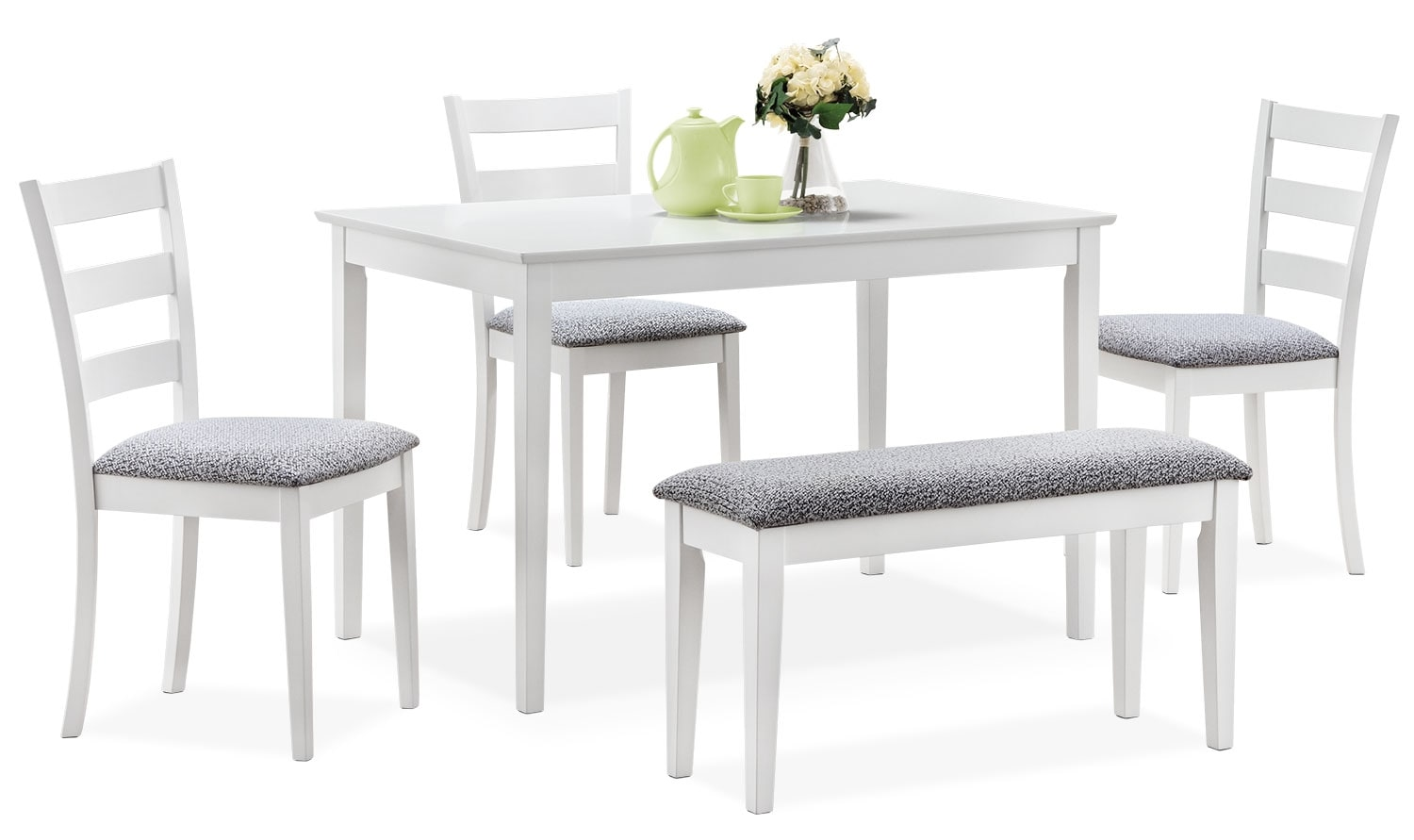 Dining Room Furniture - Monarch 5-Piece Dining Package – White