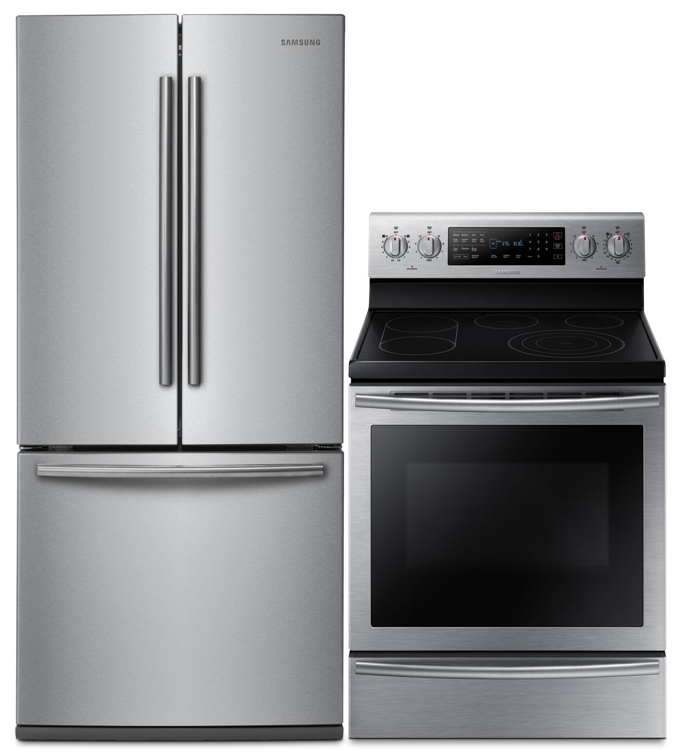 Samsung 22 Cu. Ft. Refrigerator and 5.9 Cu. Ft. Electric Convection Range – Stainless Steel