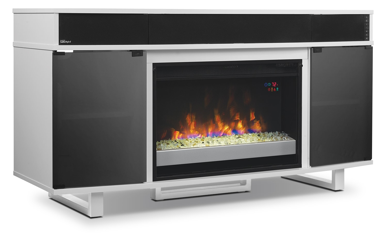 "Odesos 72"" TV Stand with Glass Ember Firebox and Soundbar – White"