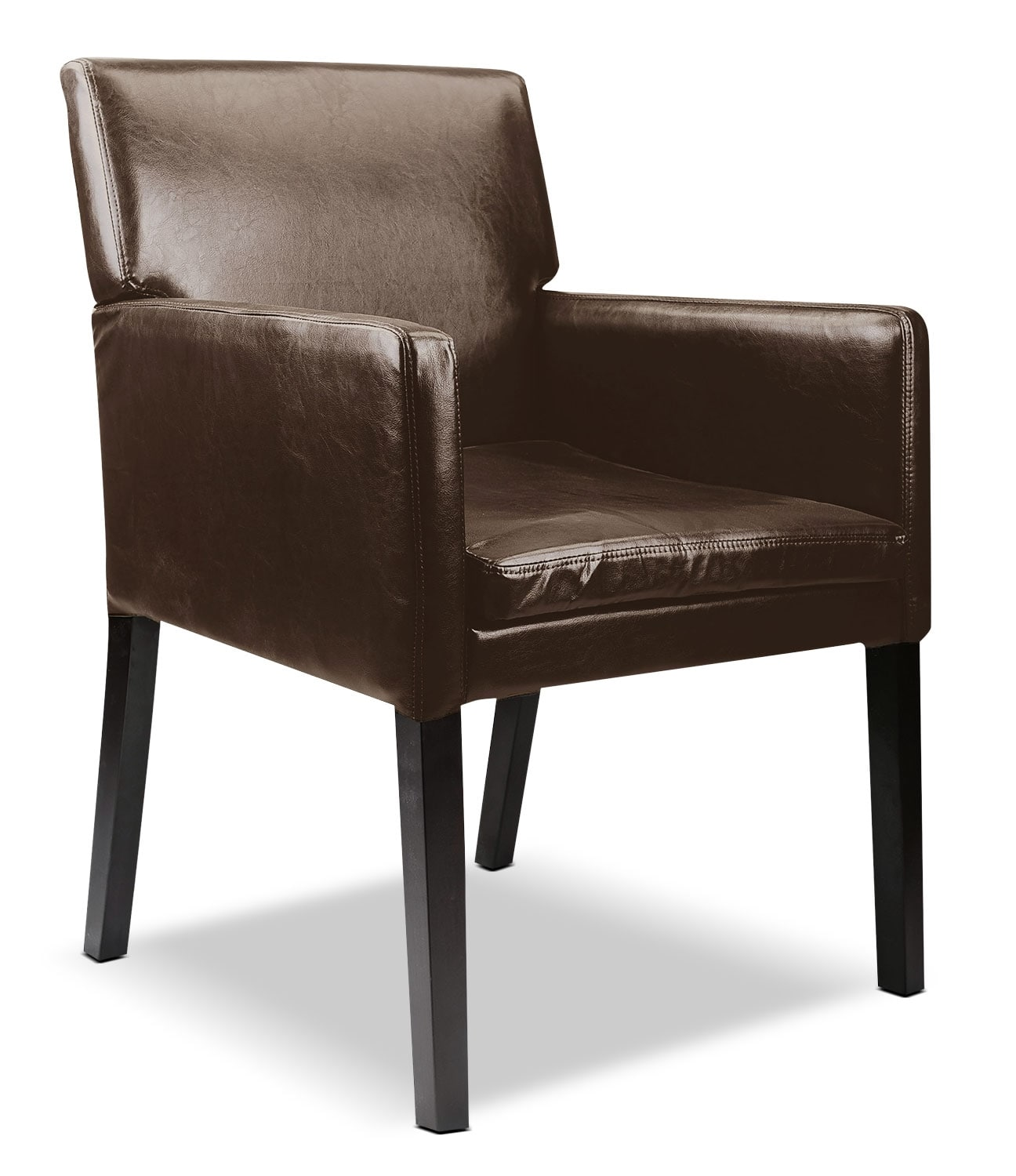 Living Room Furniture - LAD Bonded Leather Accent Chair – Dark Brown