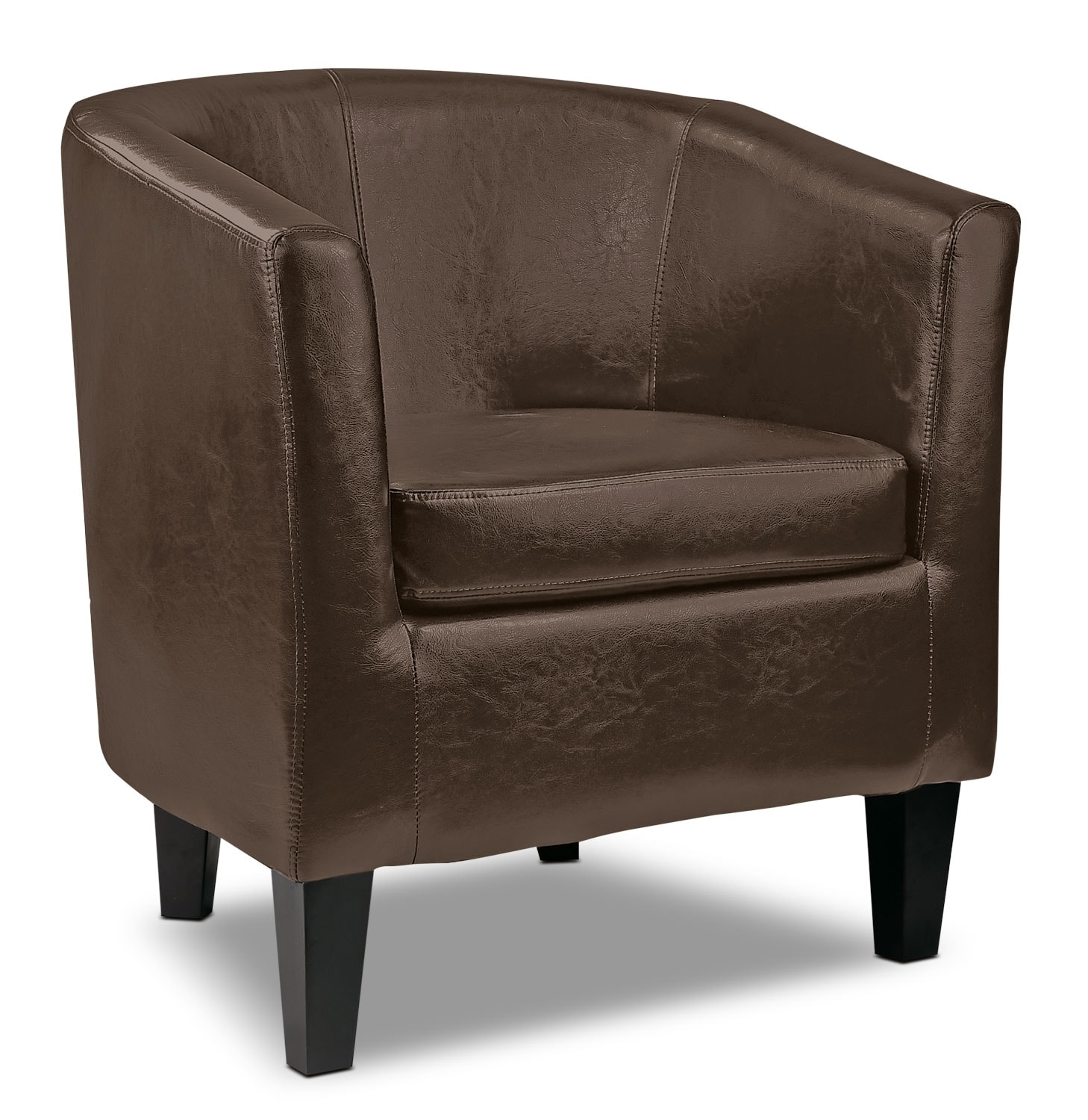 Lad bonded leather accent club chair dark brown the brick for Accent chair with brown leather sofa