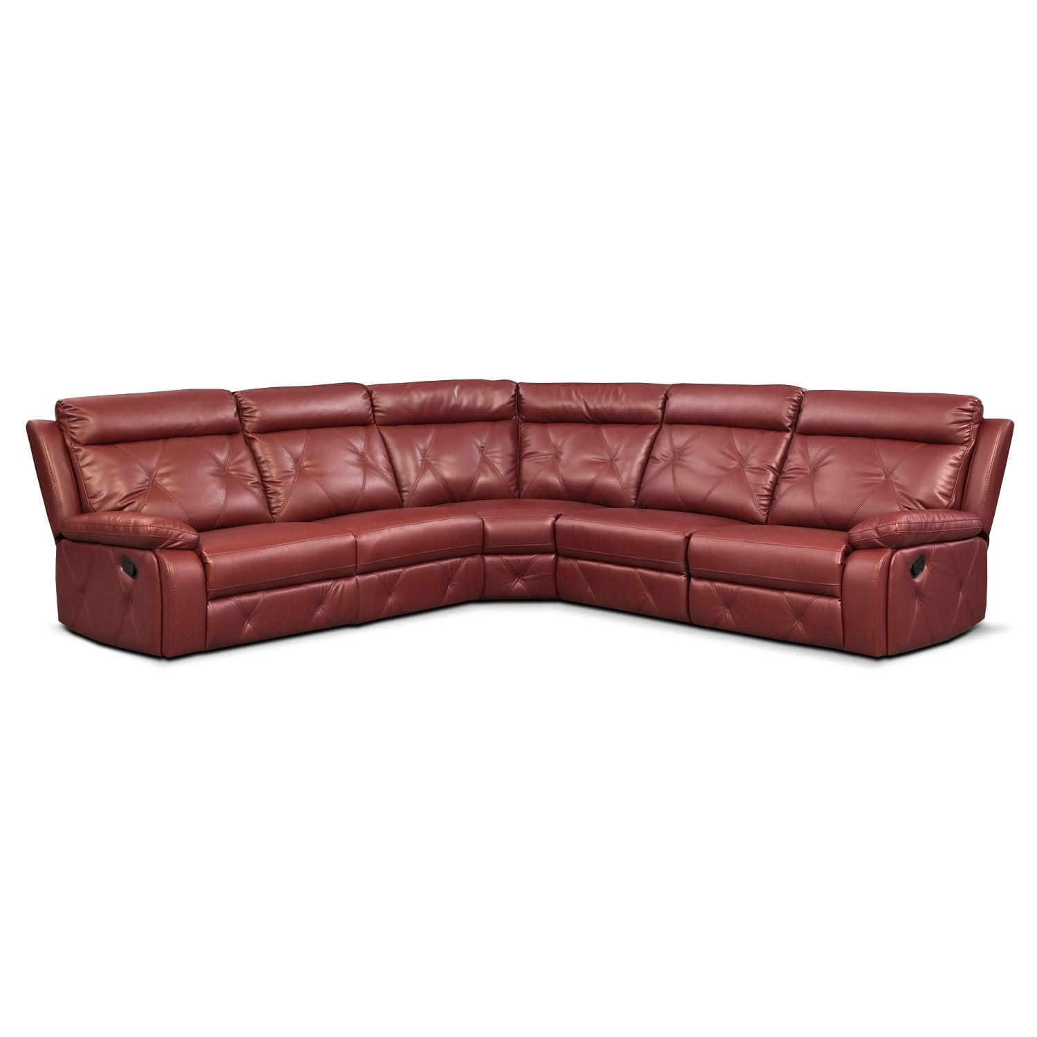 American Signature Furniture Replacement Parts: Dante Red 5 Pc. Reclining Sectional W/ 2 Reclining Seats