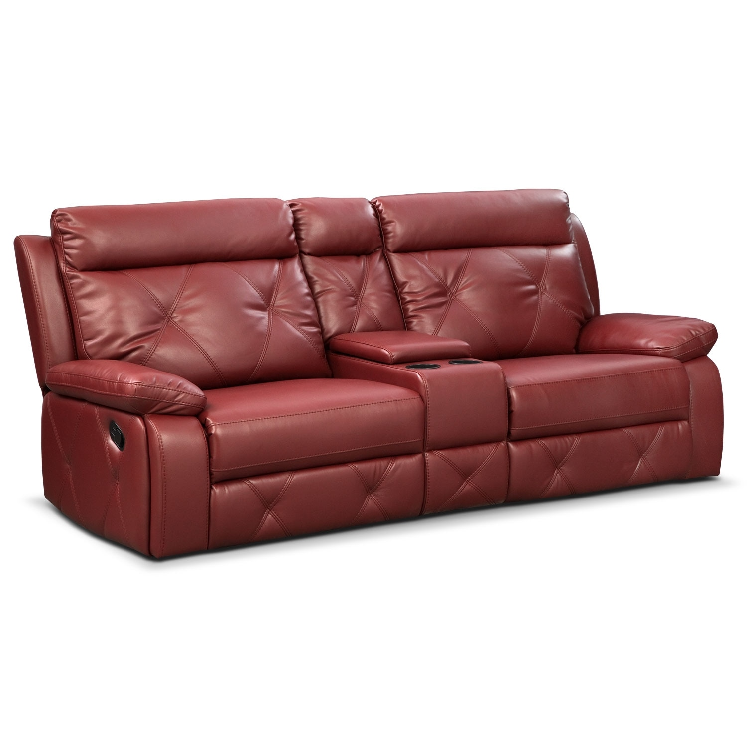 Bedford Red 3 Pc Reclining Sofa W Console