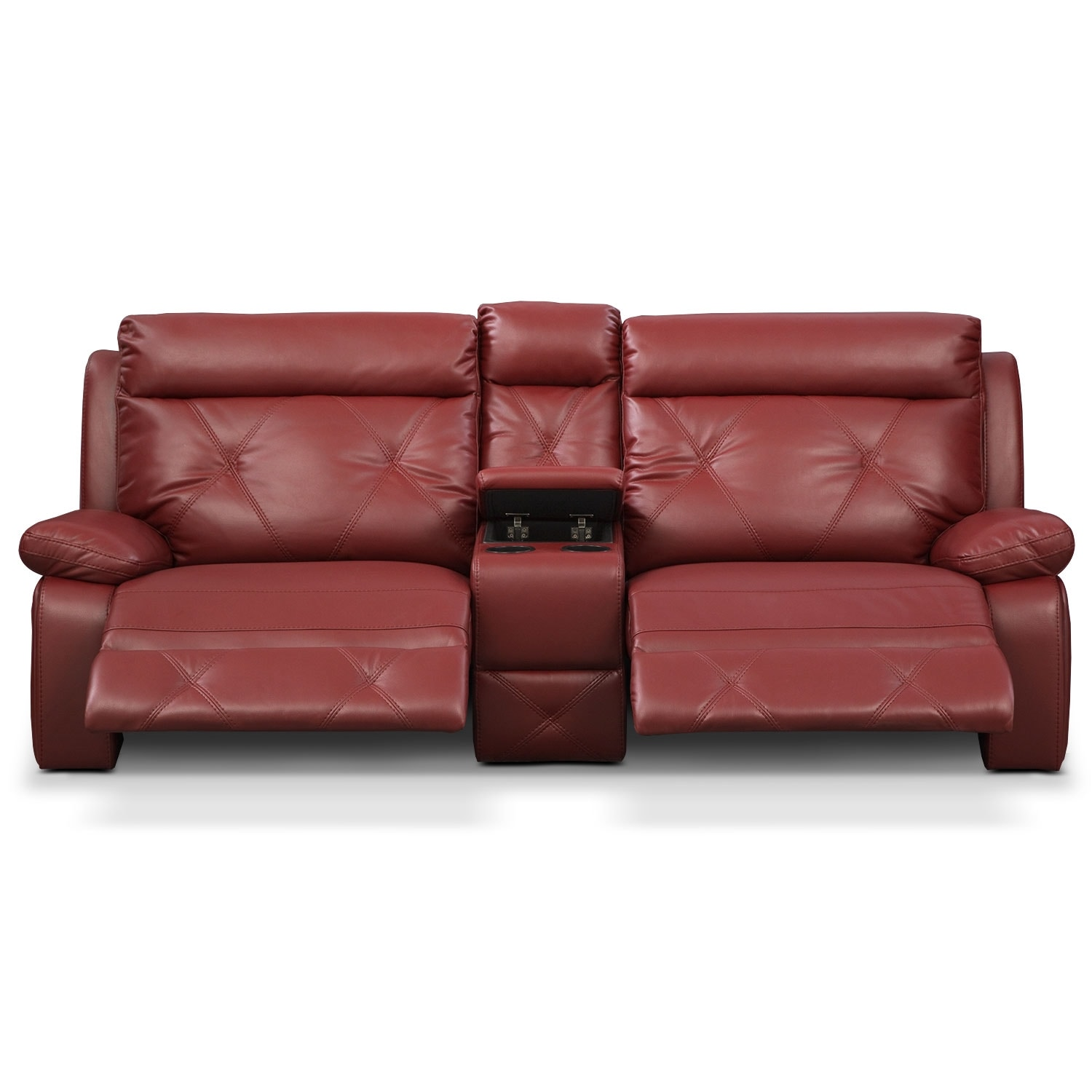 Dante Red 3 Pc Reclining Sofa With Console American