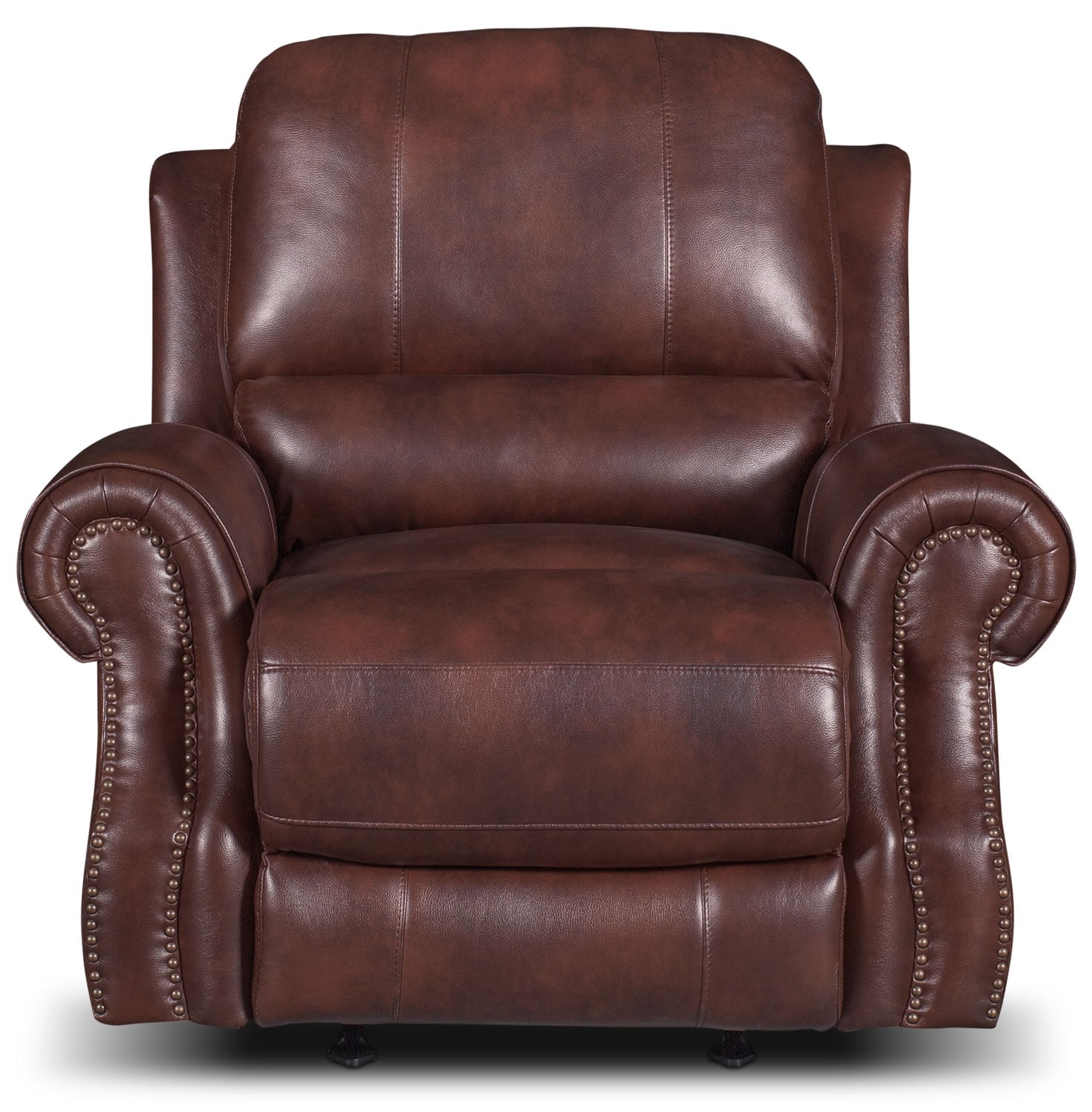 Living Room Furniture - Magnum Leather-Look Fabric Reclining Chair – Brown