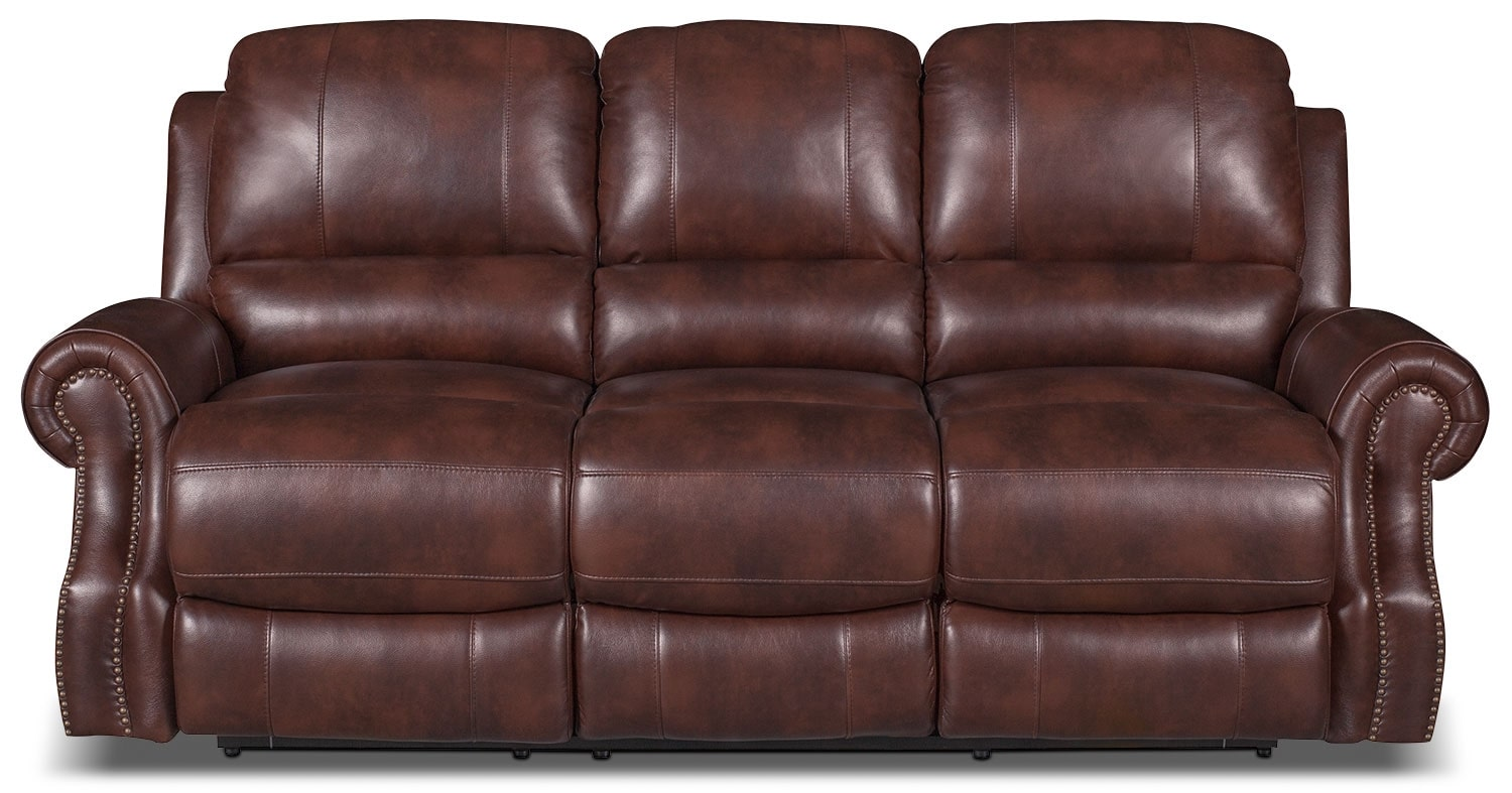 Living Room Furniture - Magnum Leather-Look Fabric Power Reclining Sofa – Brown
