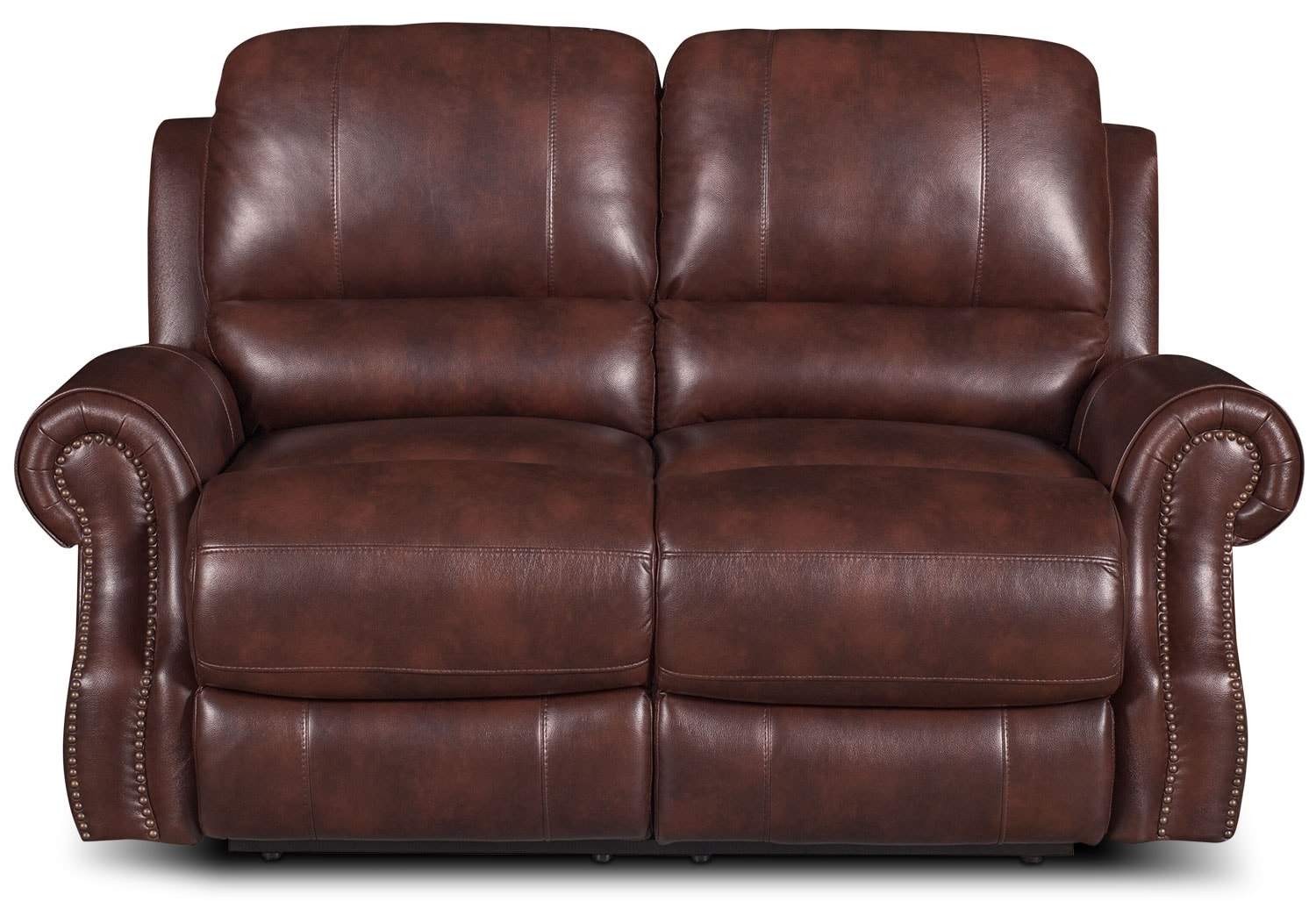 Living Room Furniture - Magnum Leather-Look Fabric Power Reclining Loveseat – Brown