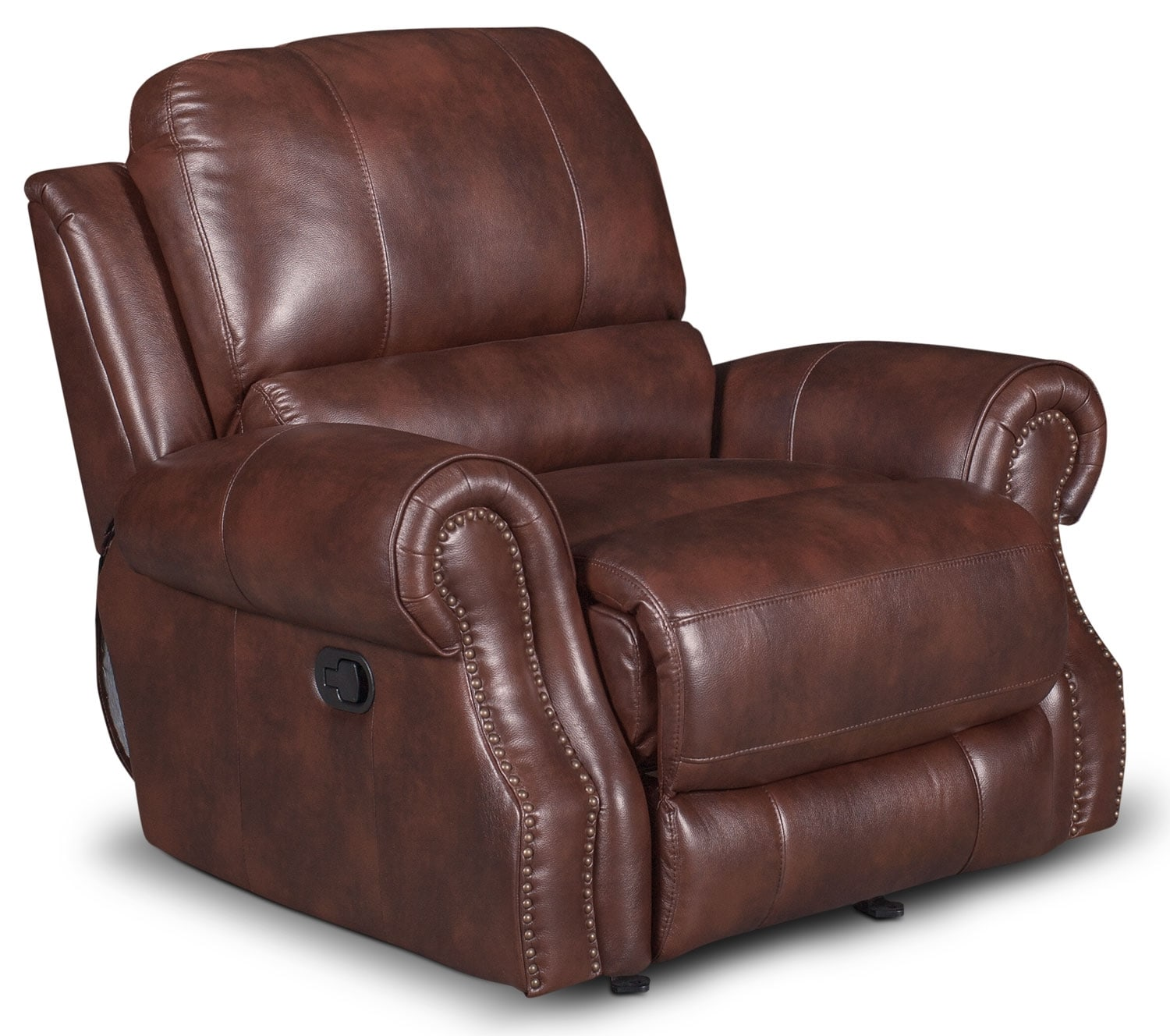 Living Room Furniture - Magnum Leather-Look Fabric Power Reclining Chair – Brown