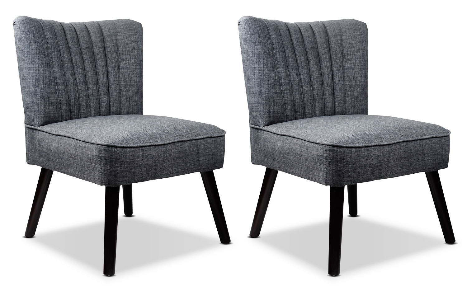Living Room Furniture - LAD Linen-Look Fabric Accent Chairs, Set of 2 – Grey