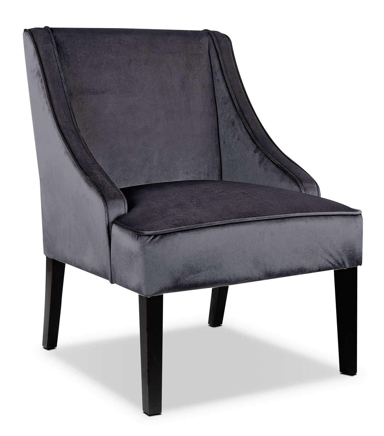 LAD Velvet Fabric Accent Chair – Dark Grey