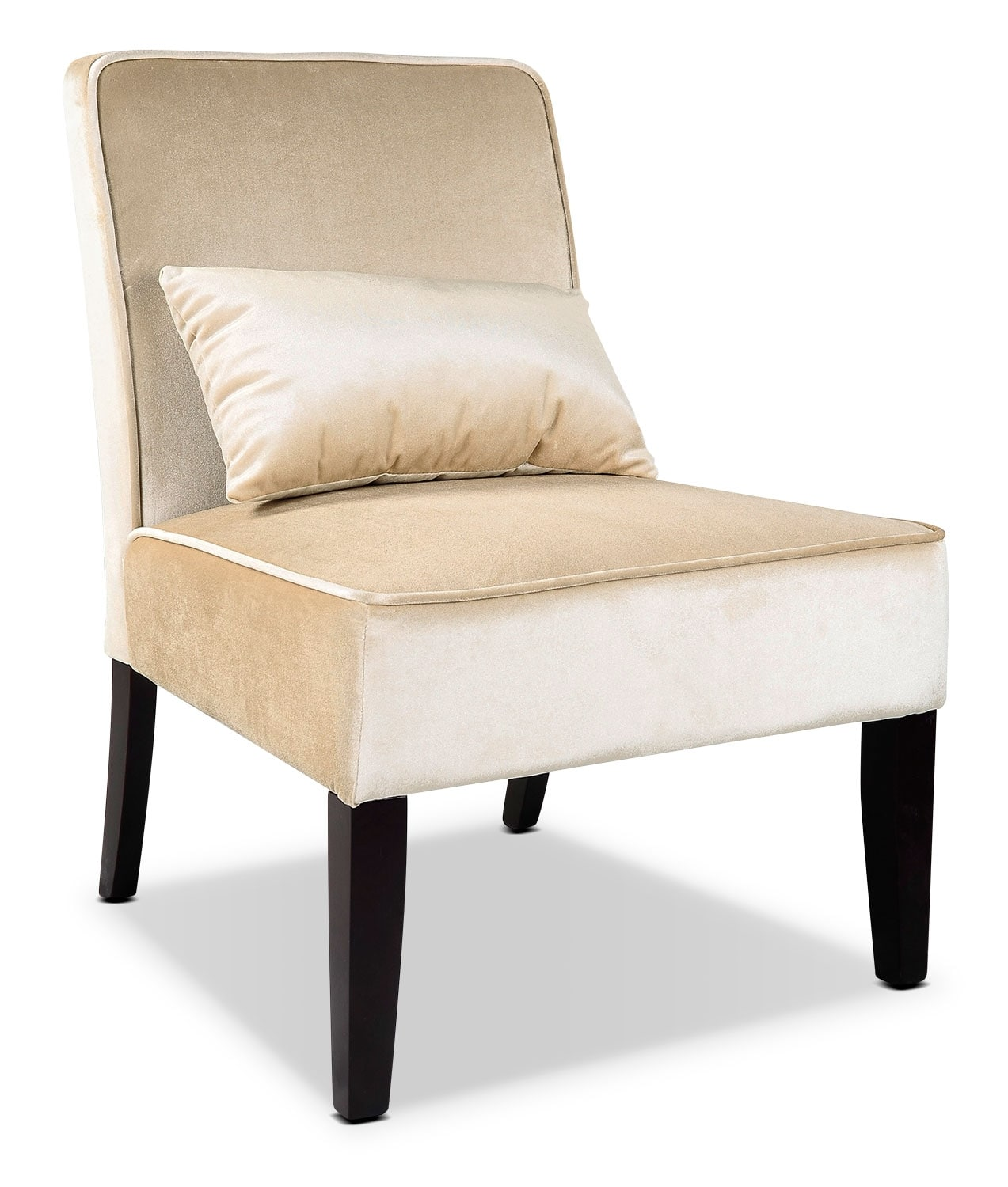 LAD Velvet Fabric Accent Chair with Accent Cushion – Cream
