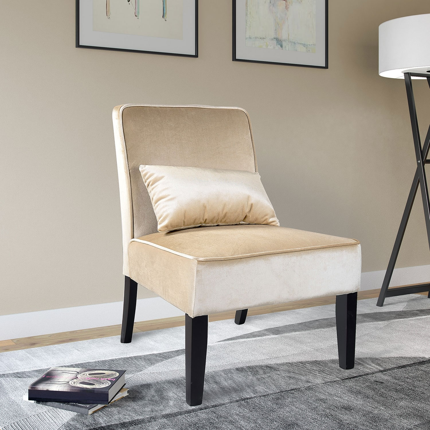 cream velvet armchair lad velvet fabric accent chair with accent cushion cream 13628 | 412424
