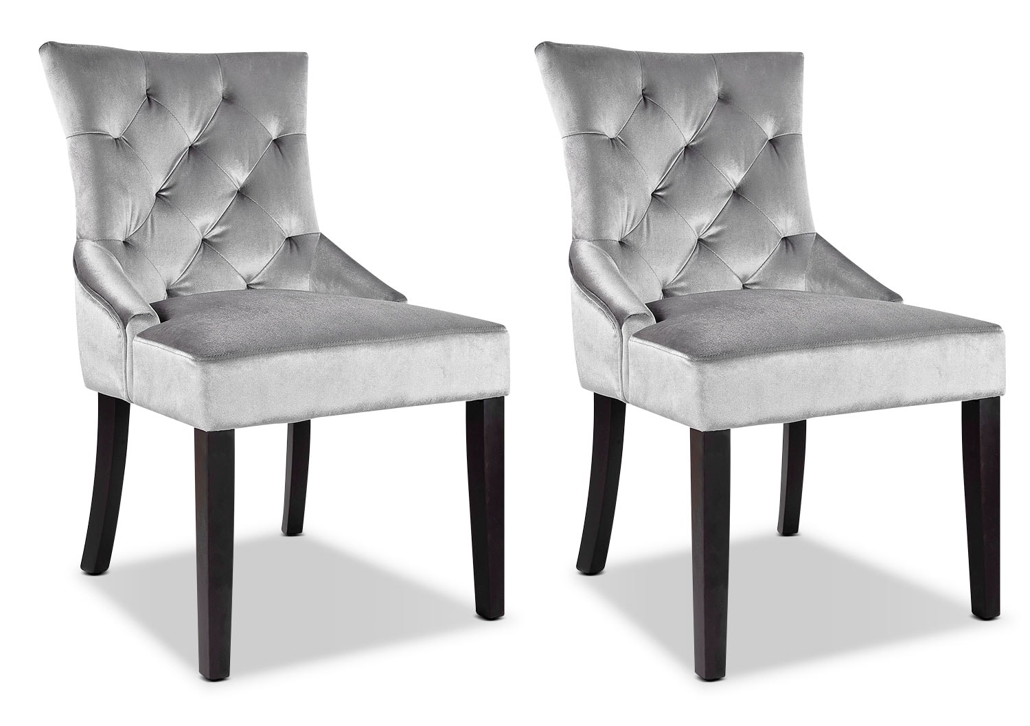 LAD Velvet Fabric Button-Tufted Accent Chairs, Set of 2 – Grey