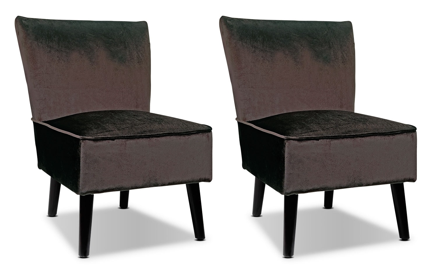 Living Room Furniture - LAD Velvet Fabric Accent Chairs, Set of 2 – Deep Brown
