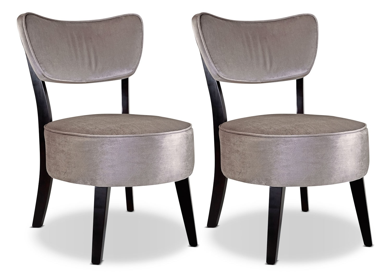 LAD Velvet Fabric Armless Accent Chairs, Set of 2 – Soft Grey