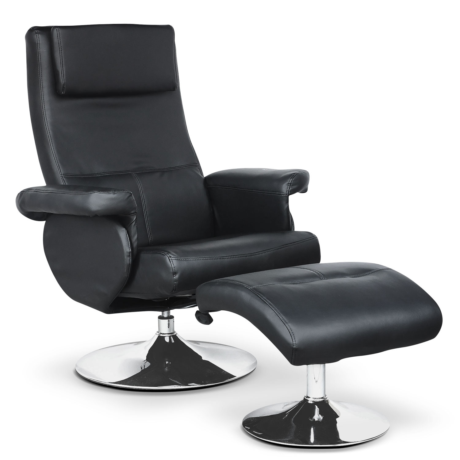 LYT Faux Leather 3-Position Reclining Chair with Swivel Base – Black