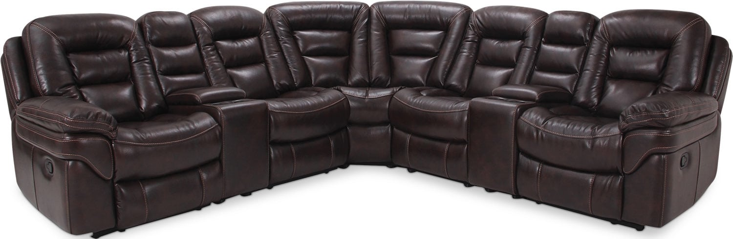 Living Room Furniture - Leo Leath-Aire® Fabric 7-Piece Power Reclining Sectional – Walnut