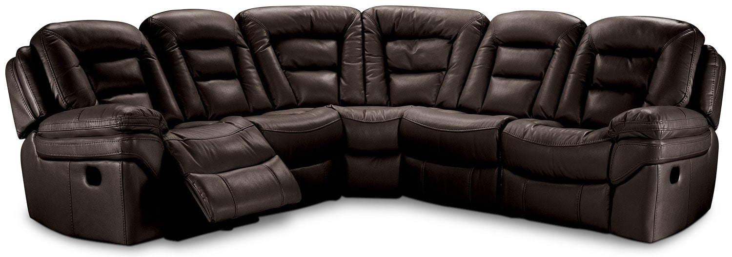 Leo Leath-Aire® Fabric 5-Piece Power Reclining Sectional – Walnut
