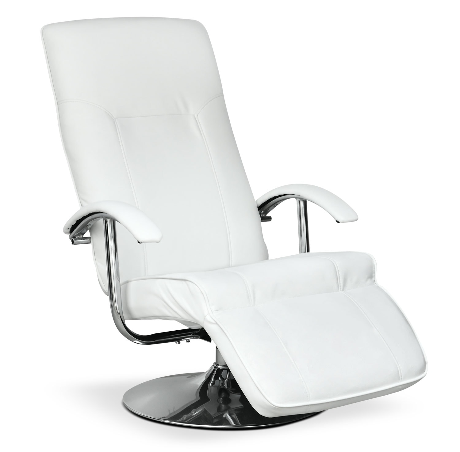 LYT Faux Leather Swivel Reclining Chair with Footrest – Fresh White