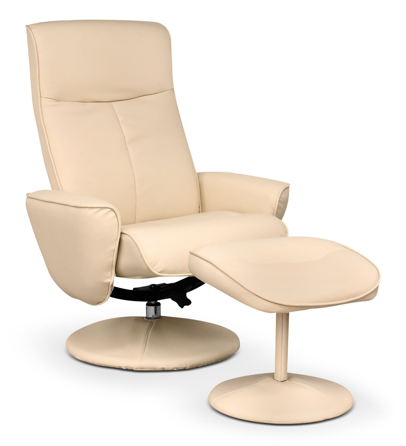 Living Room Furniture - LYT Faux Leather Swivel Reclining Chair – Ivory Cream