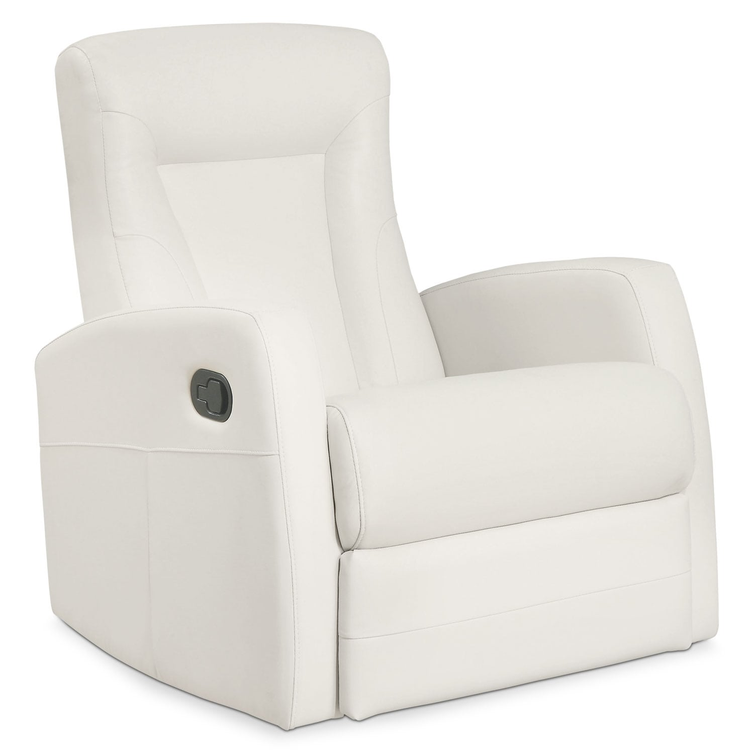 Living Room Furniture - Molly Bonded Leather Swivel Recliner - Ivory