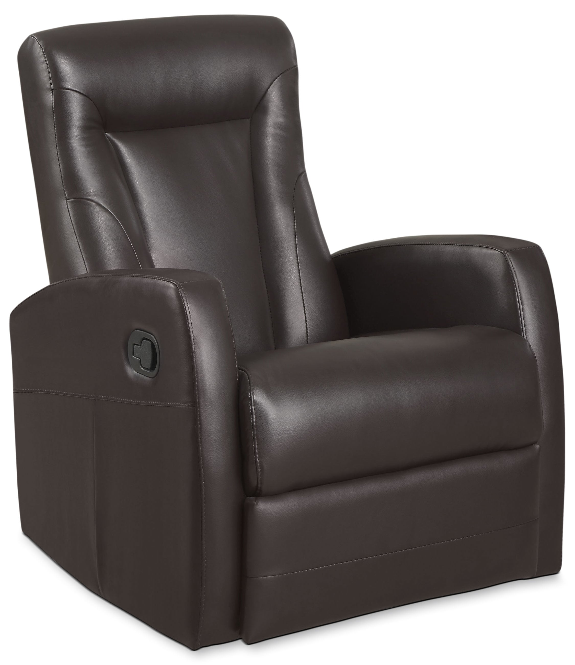 Living Room Furniture - Molly Bonded Leather Swivel Recliner - Brown