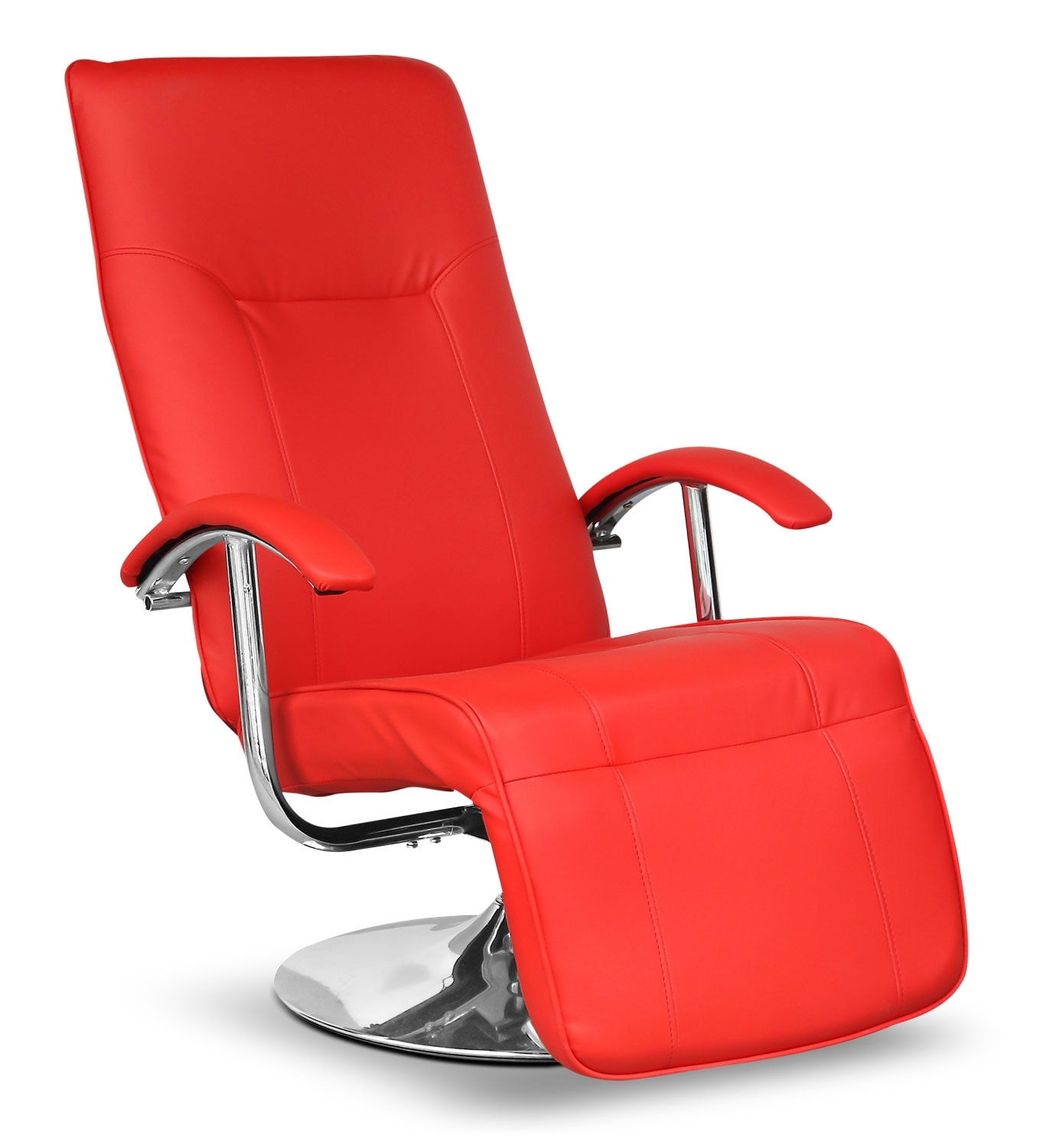 Living Room Furniture - LYT Faux Leather Swivel Reclining Chair with Footrest – Red