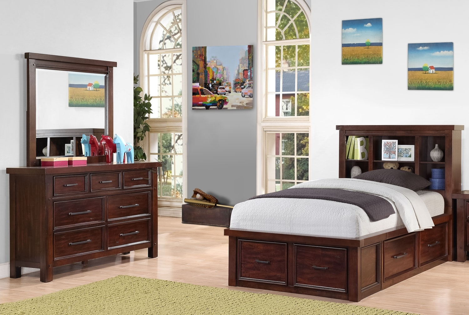 Kids Furniture - Sonoma Youth 5-Piece Bookcase Storage Bedroom Package – Full