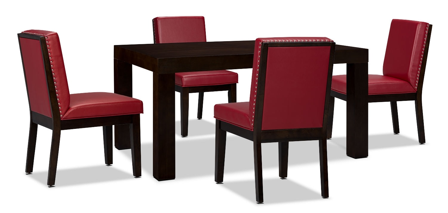 Dining Room Furniture - Couture 5-Piece Dining Package – Red
