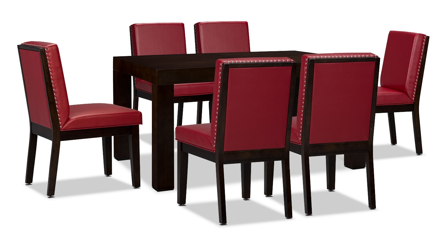 Dining Room Furniture - Couture 7-Piece Dining Package – Red