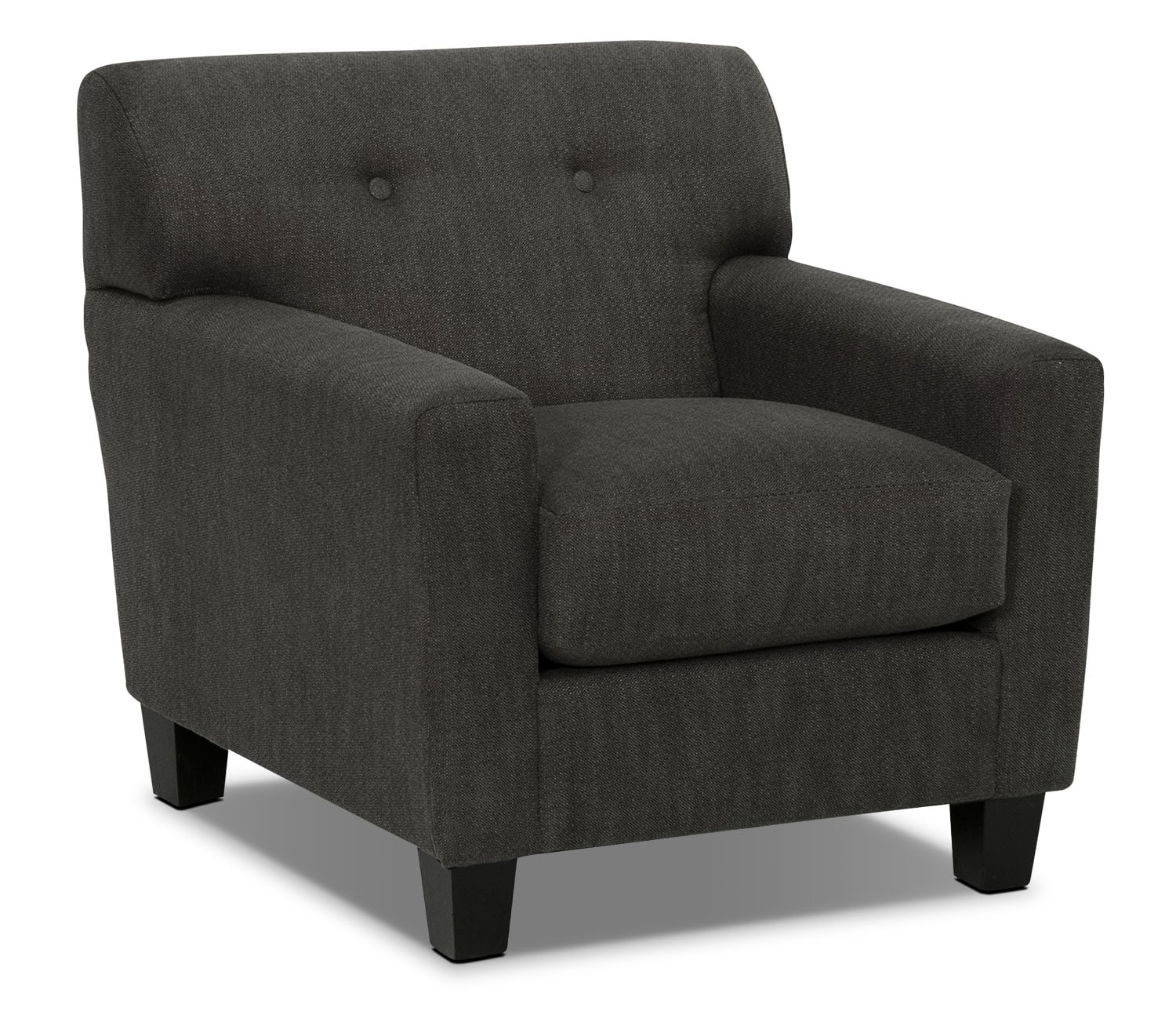 Living Room Furniture - Aubrey Linen-Look Fabric Chair - Charcoal