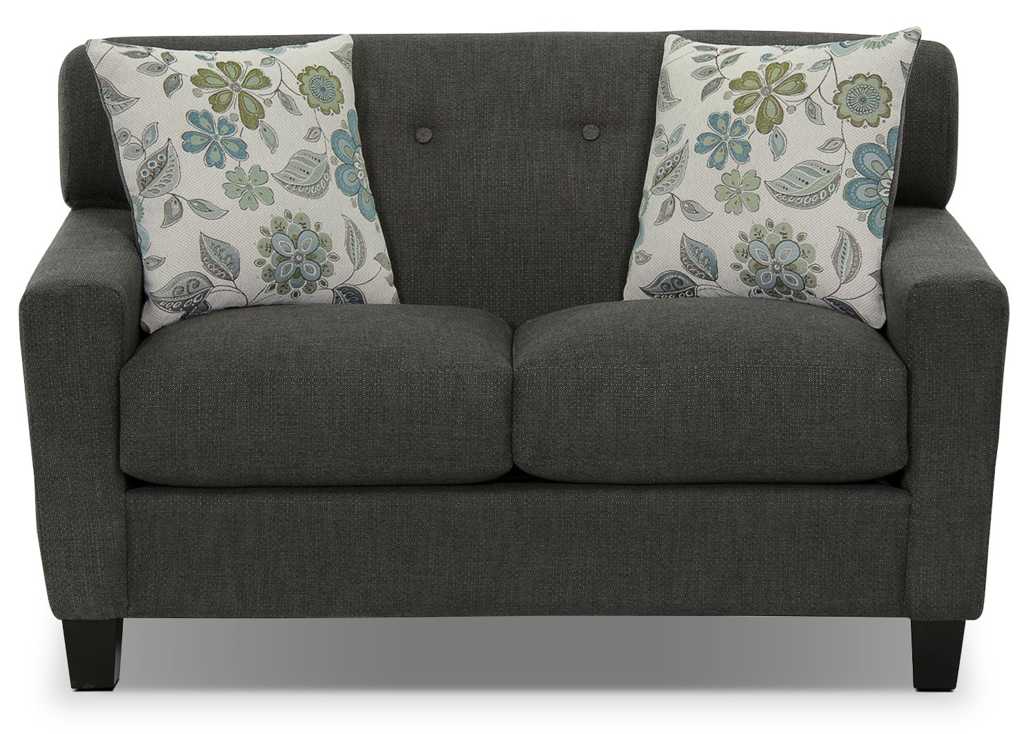 Living Room Furniture - Aubrey Linen-Look Fabric Loveseat - Charcoal