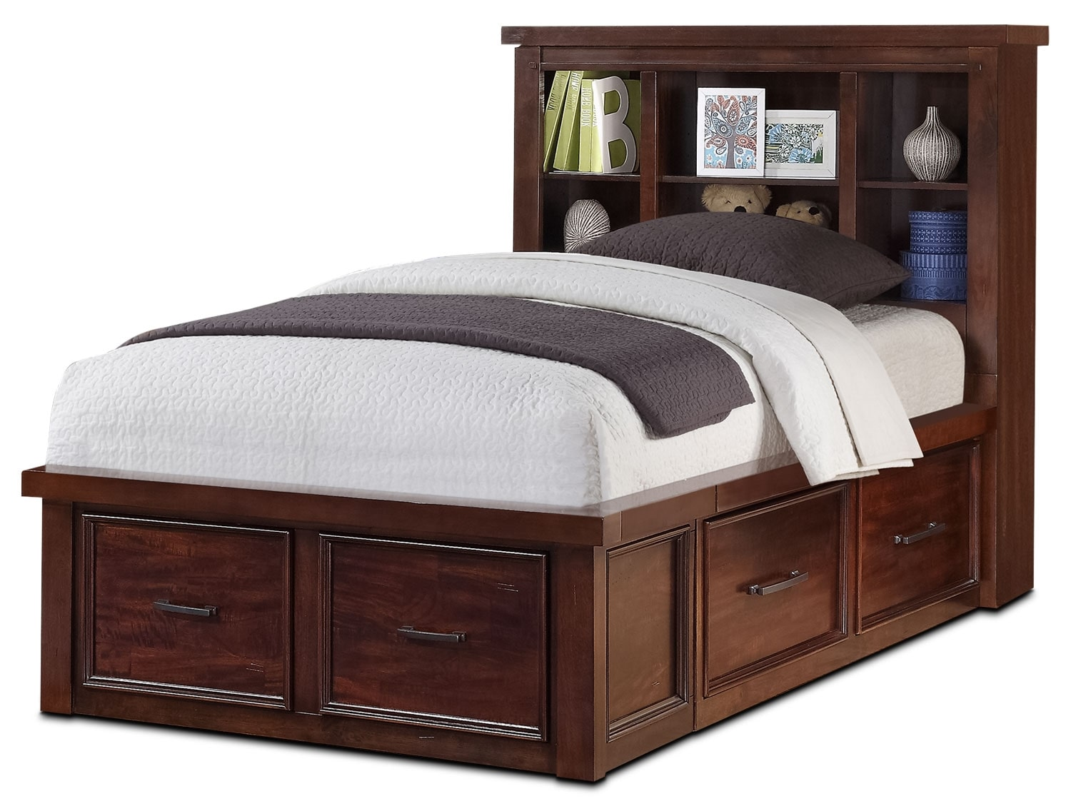 Sonoma youth twin bookcase storage bed united furniture for Furniture and beds