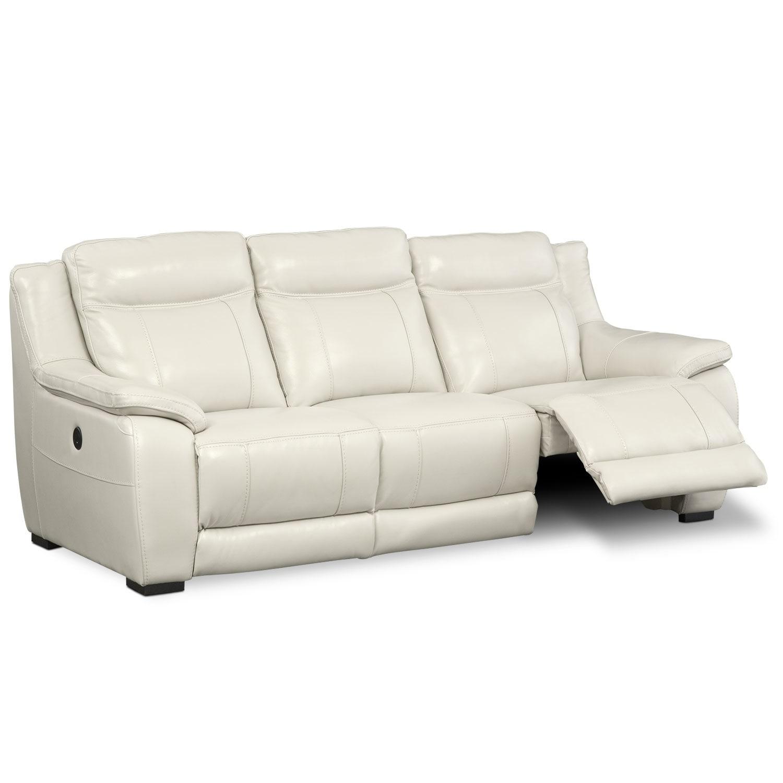 Lido Power Reclining Sofa Ivory Value City Furniture