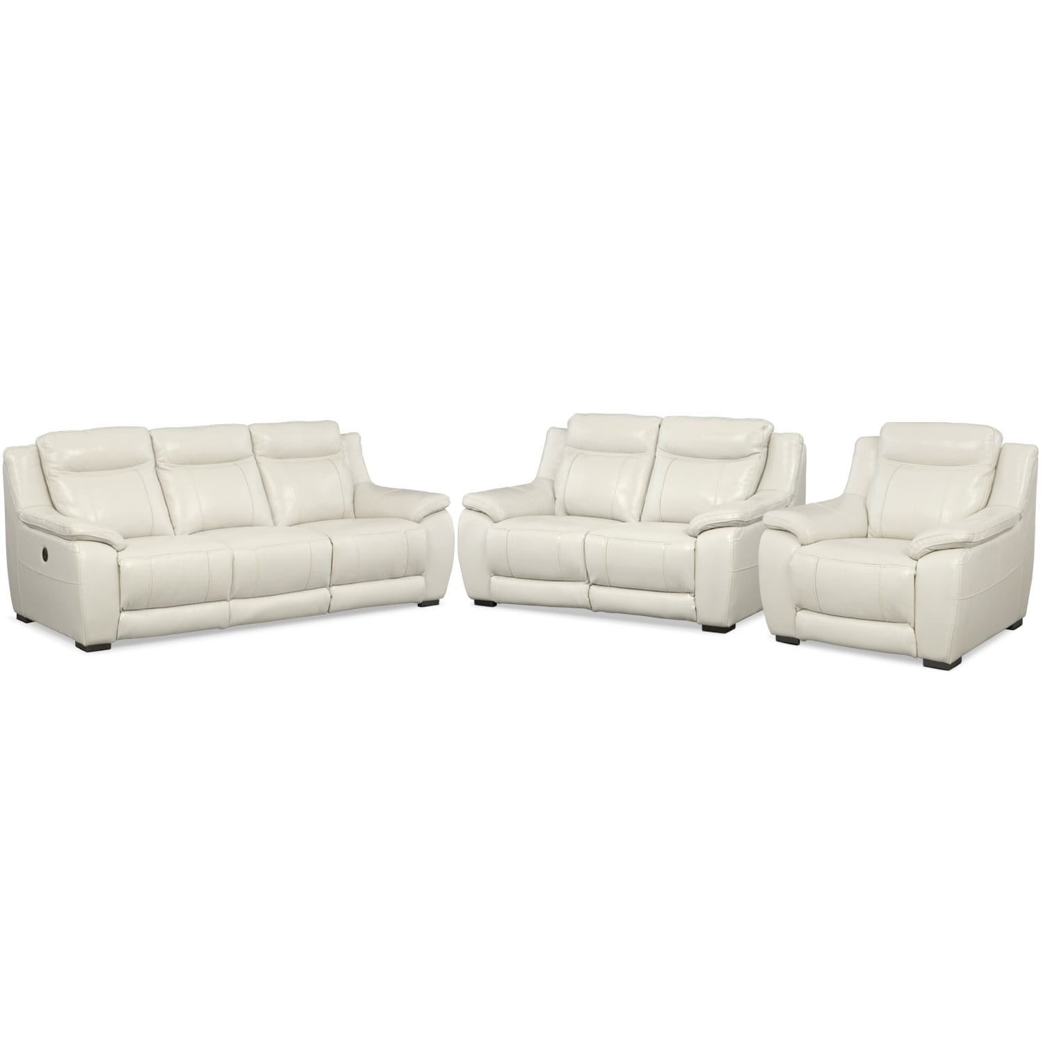 Lido power reclining sofa reclining loveseat and recliner set ivory value city furniture Power loveseat recliner