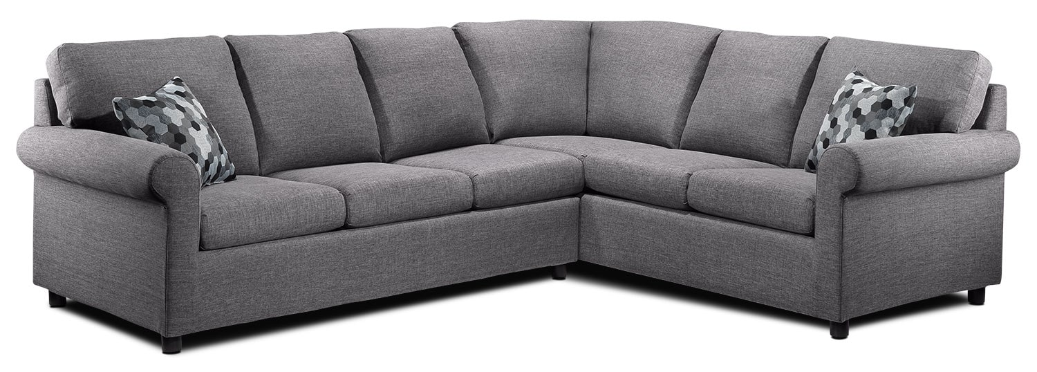 Tambora 2 piece sofabed sectional grey leon 39 s for Sofa bed leons