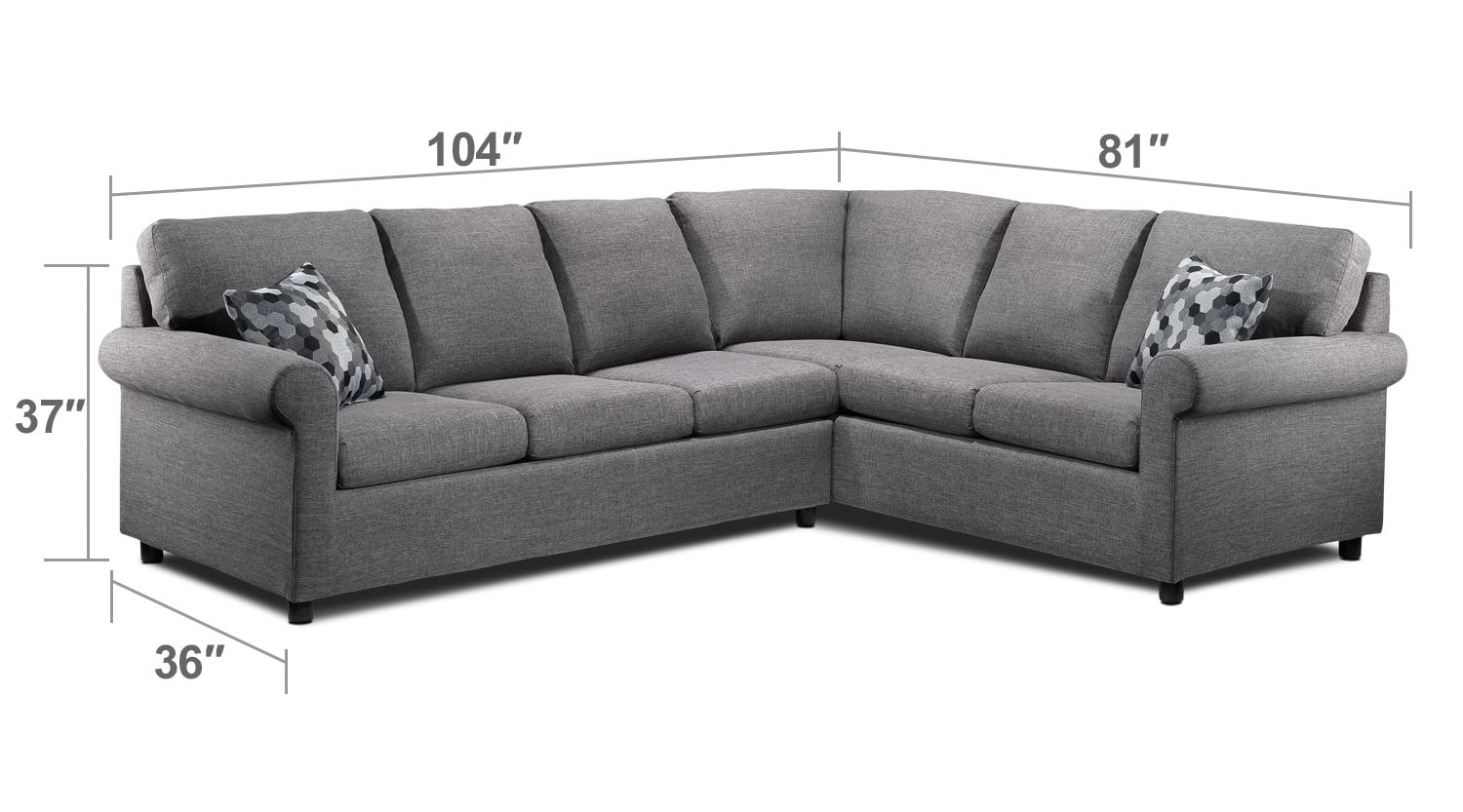 Living Room Furniture - Tambora 2-Piece Sofabed Sectional - Grey