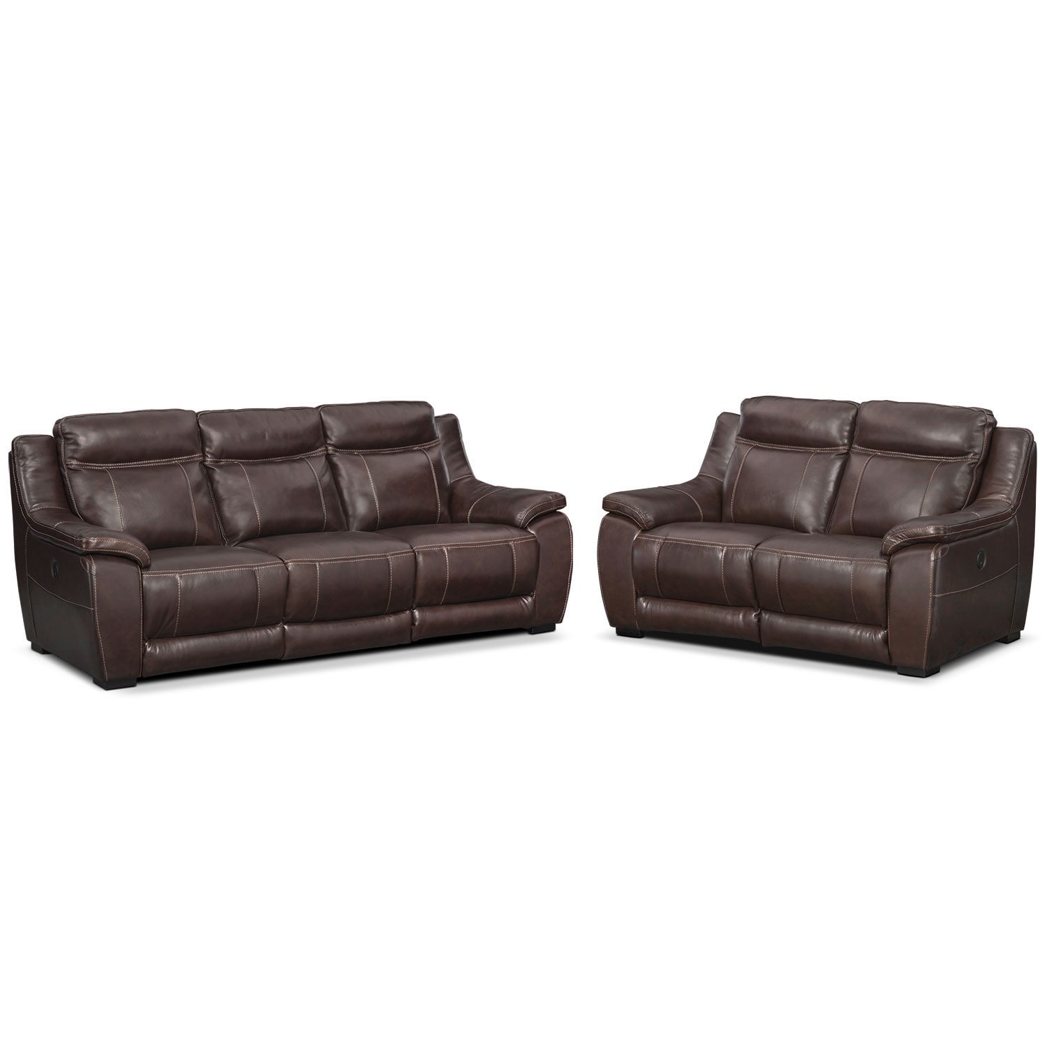 Lido Power Reclining Sofa And Reclining Loveseat Set Brown Value City Furniture