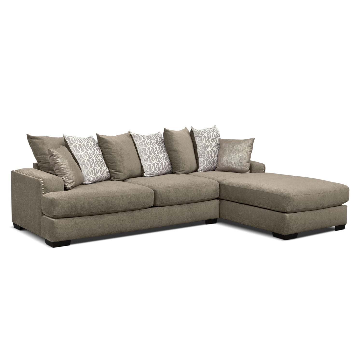 Sectional sofas living room seating american signature for American signature furniture commercial chaise