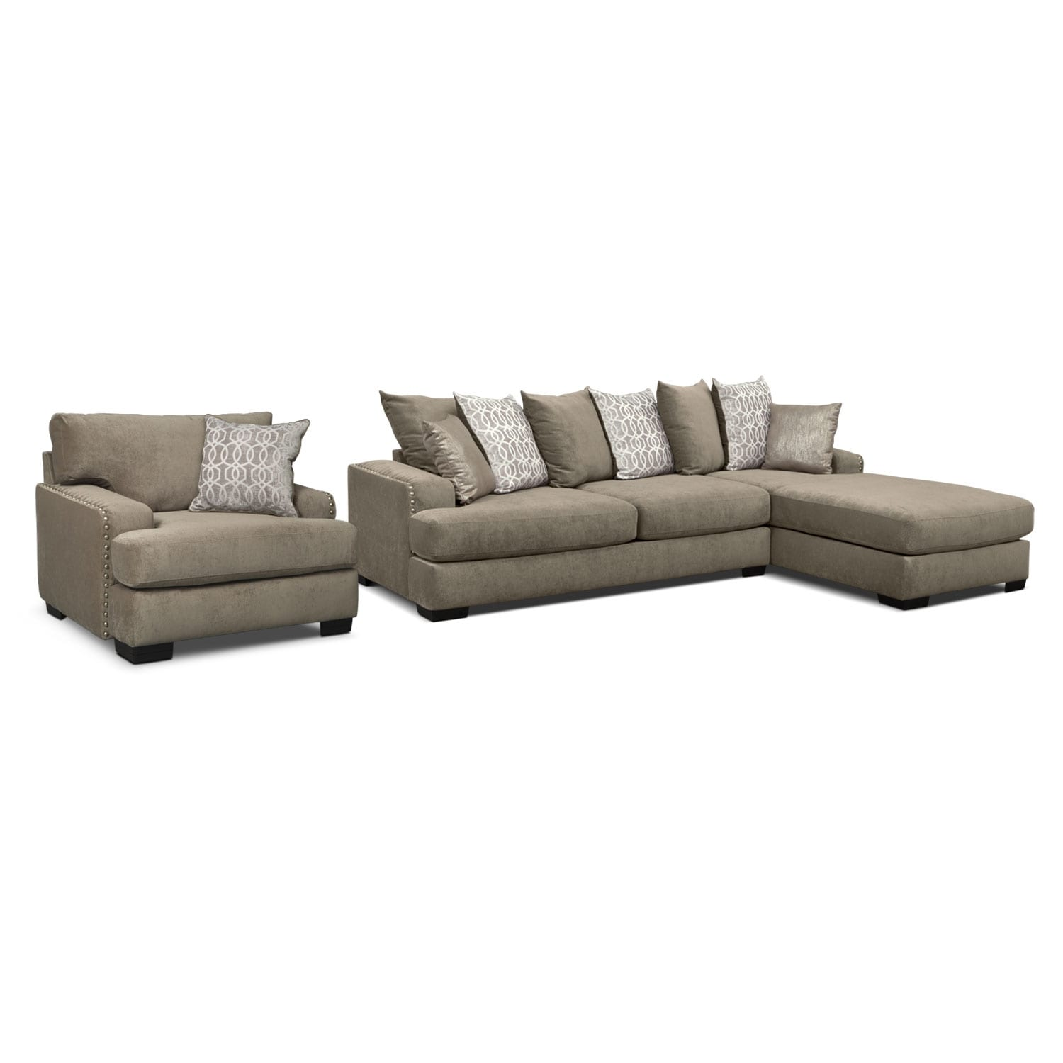 Tempo 2Piece Sectional with RightFacing Chaise and Chair