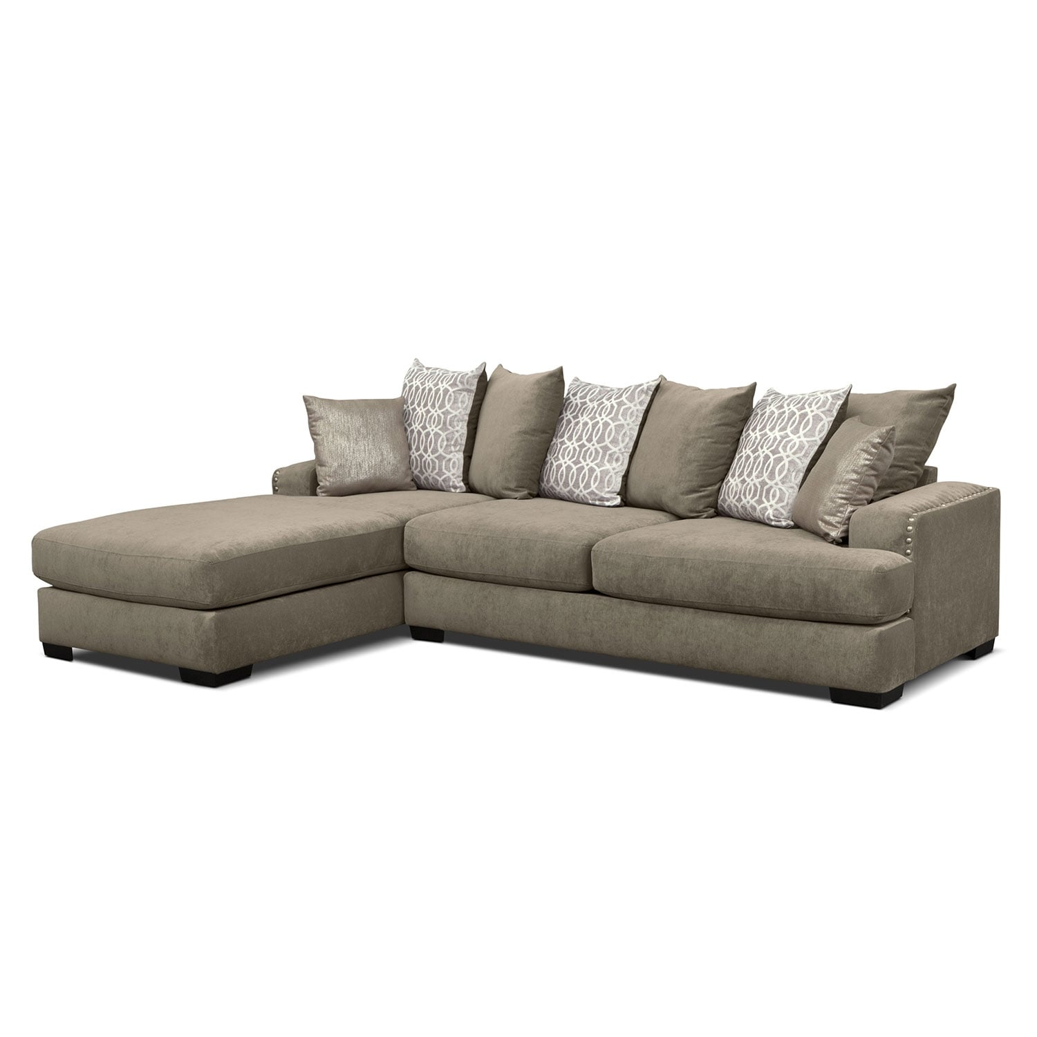 2 pc sectional sofa chaise 2 pc sectional with. Black Bedroom Furniture Sets. Home Design Ideas