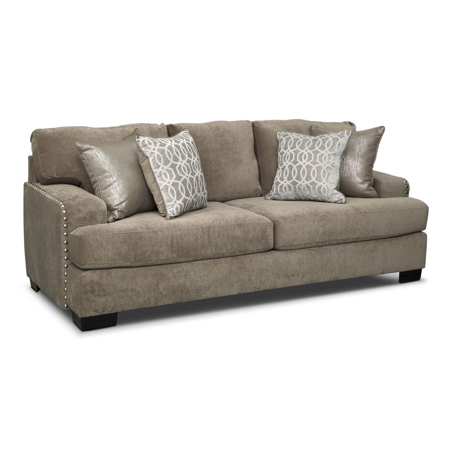 Sofa factory outlet cordelle sofa gray american signature for Sectional sofa factory outlet