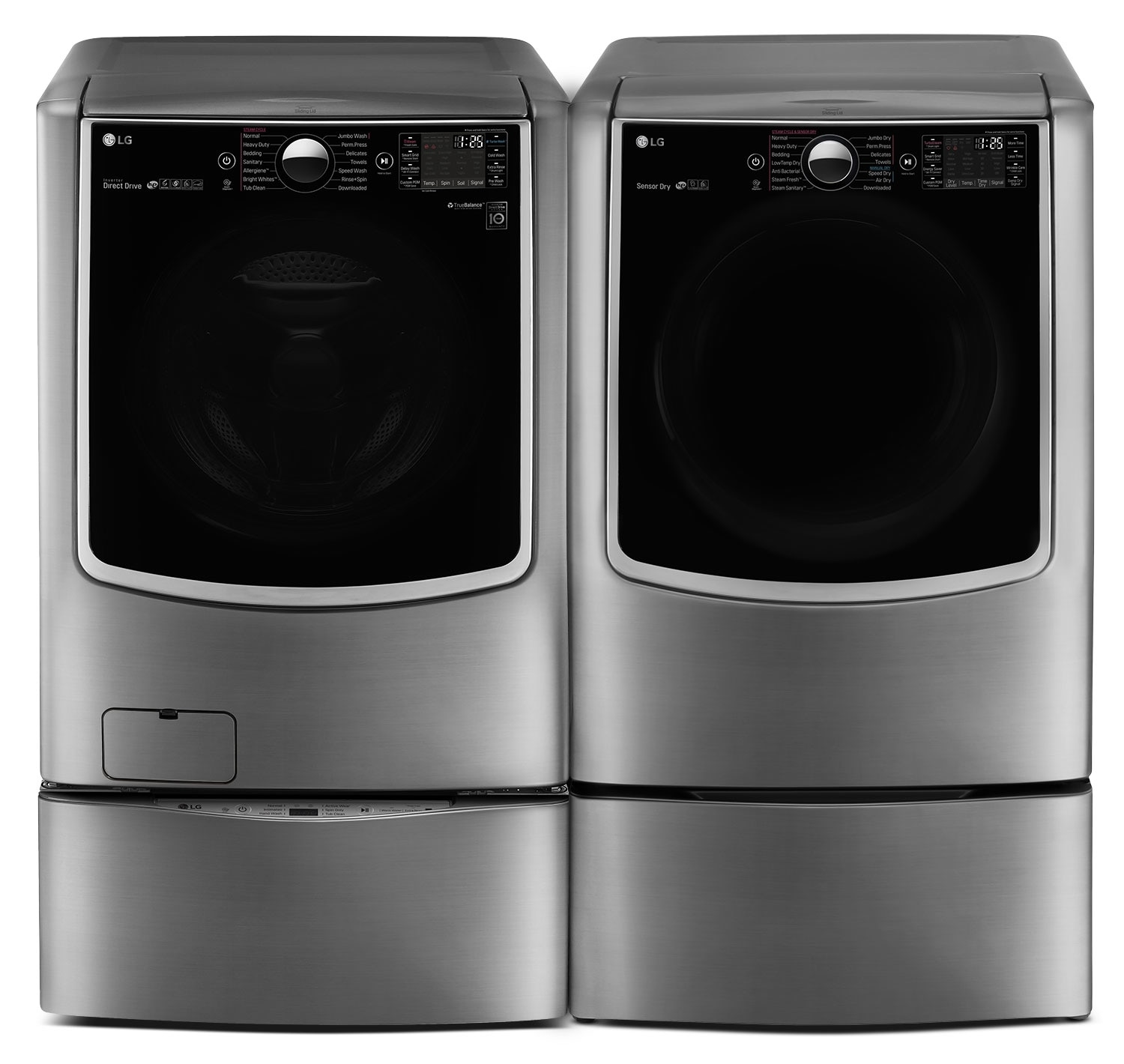 LG TWIN Wash™ 6.0 Cu. Ft. Washer, Pedestal Washer and 9.0 Cu. Ft. Gas Dryer - Graphite Steel