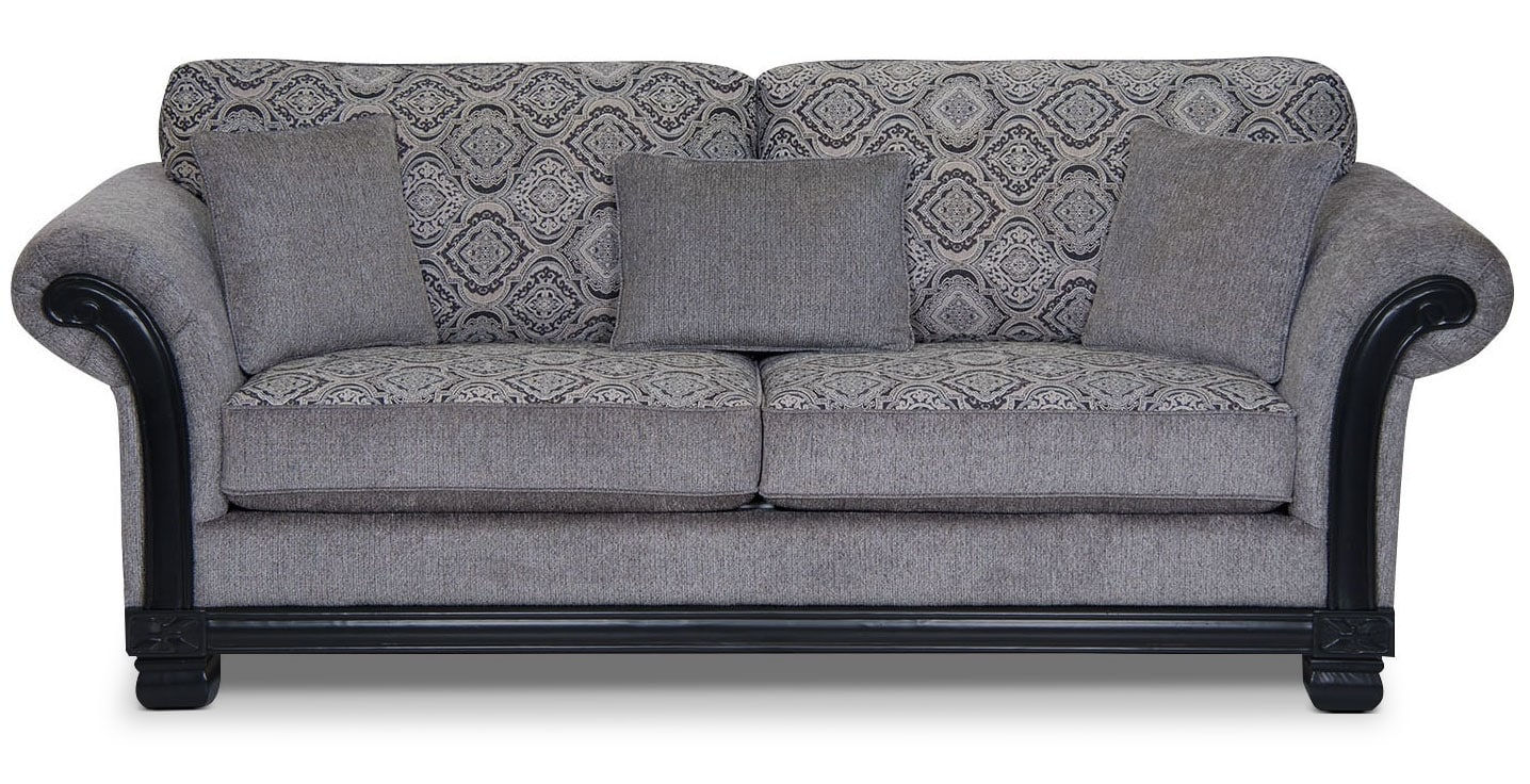 Living Room Furniture - Hazel Chenille Full-Size Sofa Bed - Grey