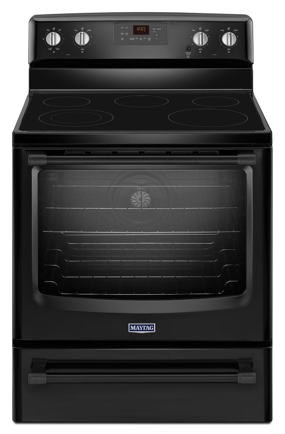 [Maytag Black Freestanding Electric Convection Range (6.2 Cu. Ft.) - YMER8700DB]
