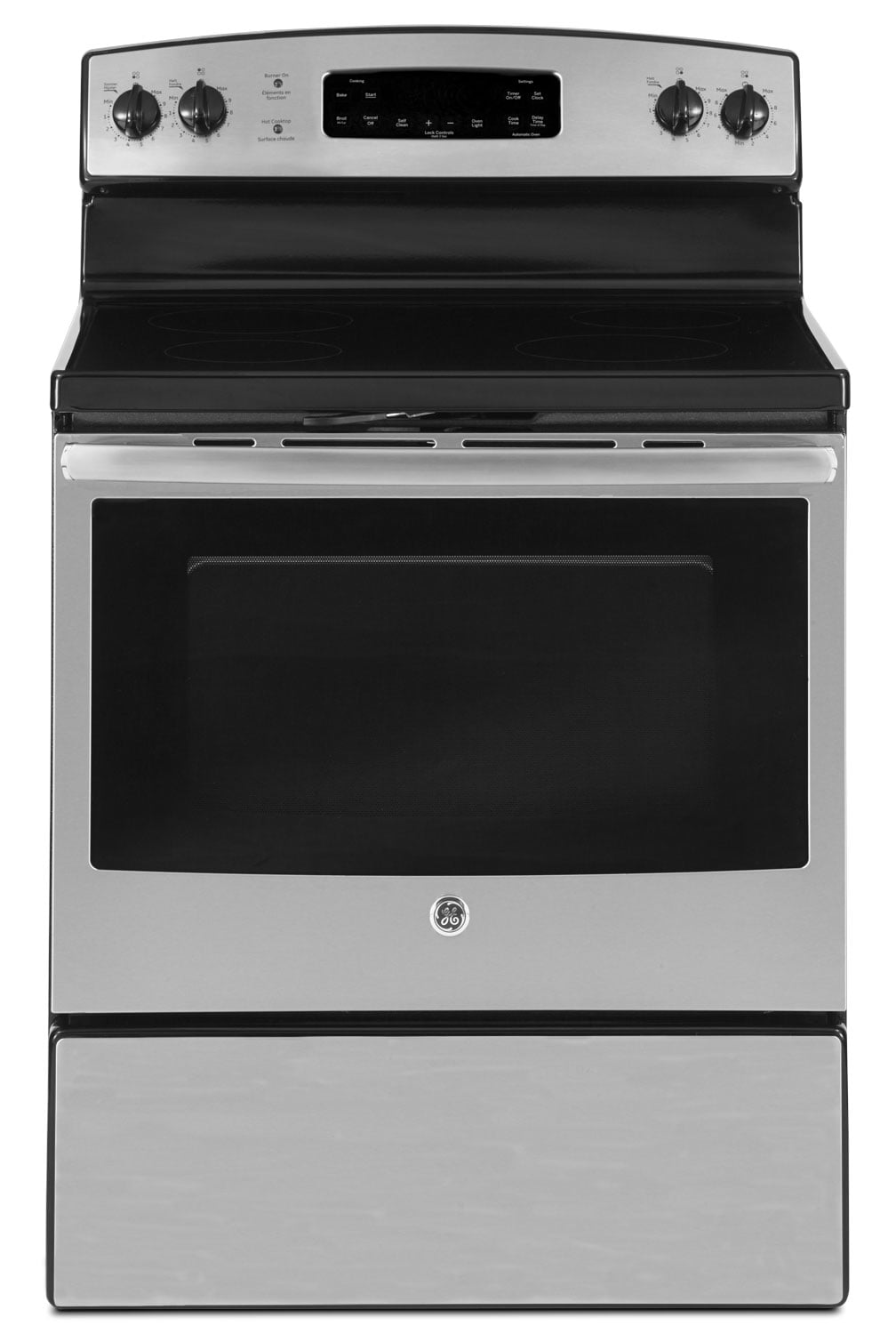 Cooking Products - GE 5.0 Cu. Ft. Freestanding Smooth-Top Electric Range - Stainless Steel